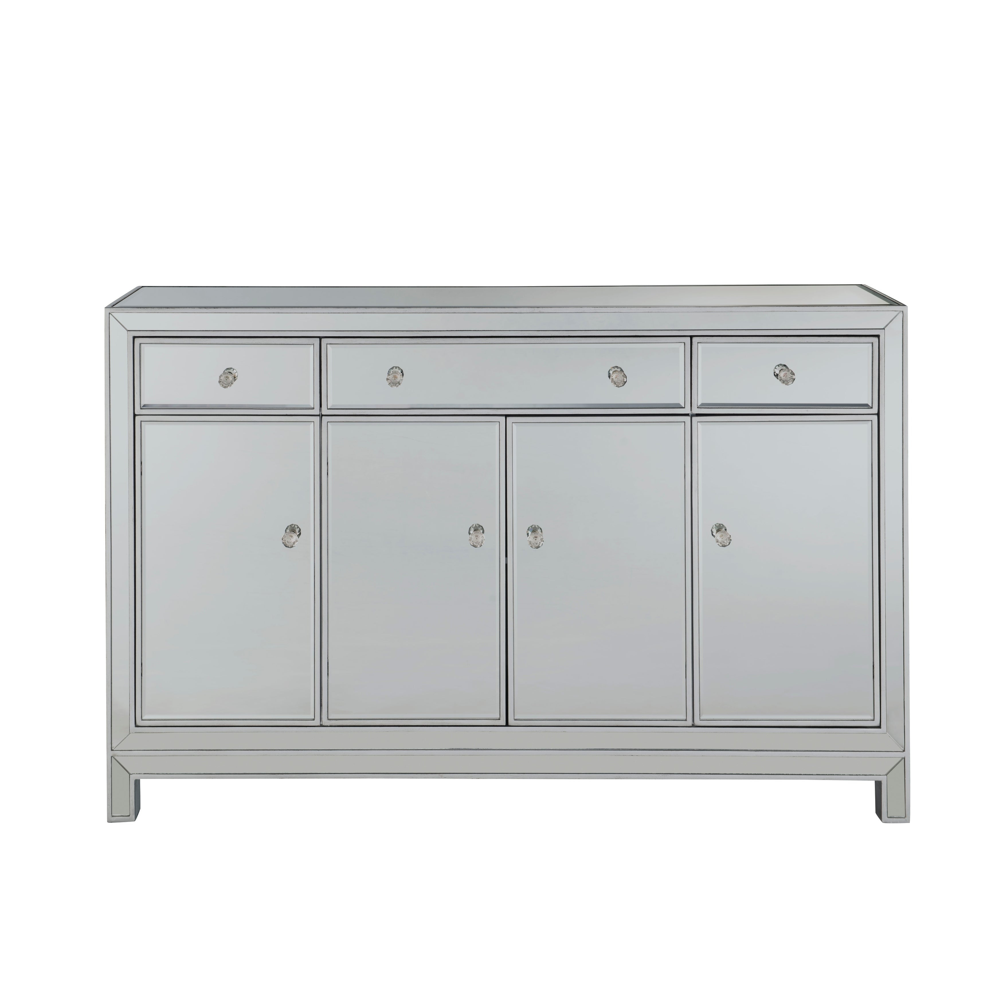 """Buffet Cabinet 3 Drawers 4 Doors 56""""w X 13""""d X 36""""h In Antique Silver Paint with 3-Drawer Black Storage Buffets (Image 11 of 30)"""