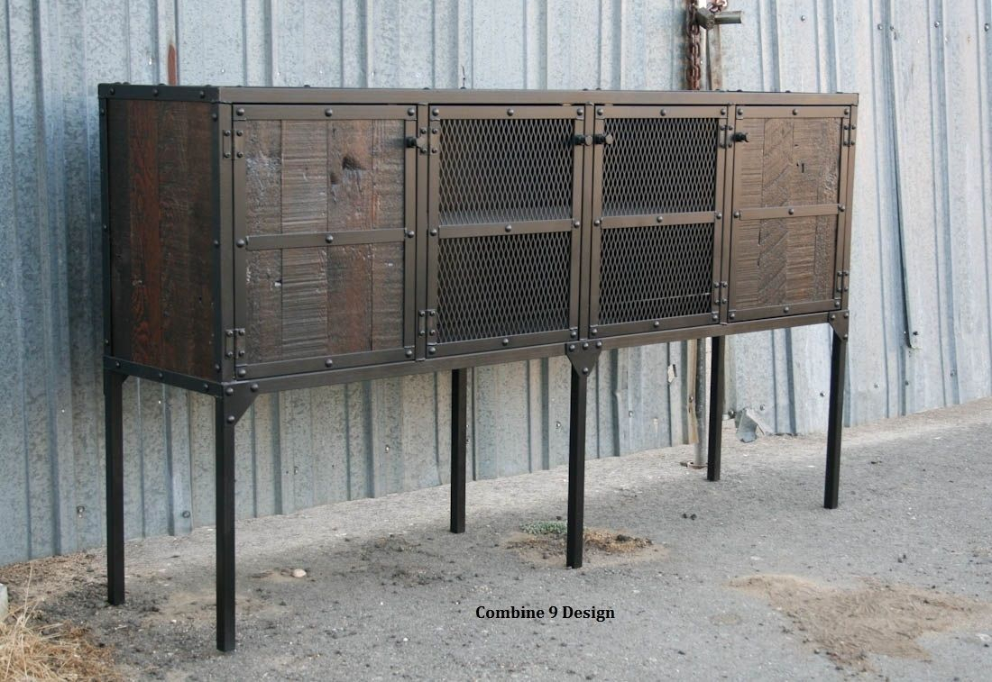 Buffet/hutch. Vintage Industrial Modern. Distressed, Reclaimed Wood.  Rustic. Media Console, Tv Stand intended for Rustic Walnut Dining Buffets (Image 7 of 30)