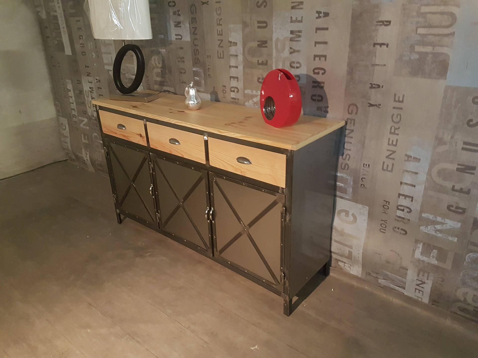 Buffet Industrial Solid Pine 3 Door Steel 3 Drawer Wood In Industrial Style 3 Drawer Buffets (View 5 of 30)