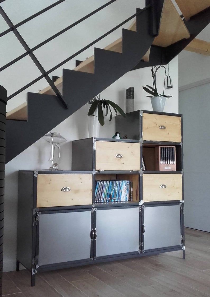 Buffet Industrial Steel Under Stairs with regard to Industrial Style 3-Drawer Buffets (Image 6 of 30)