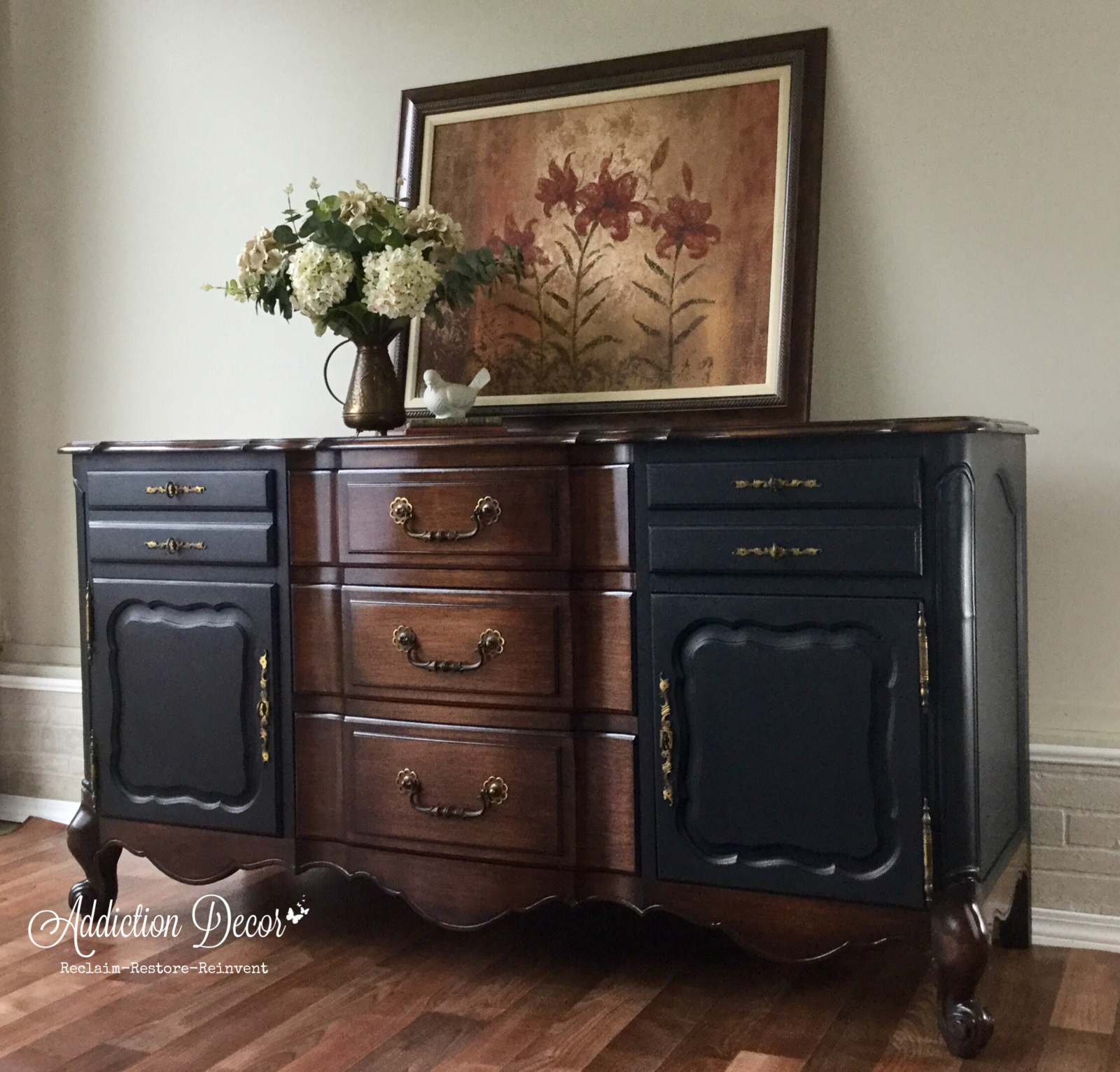 Buffet Sideboard Two Toned French Provincial Black #anawhite Regarding Chalus Sideboards (View 3 of 30)
