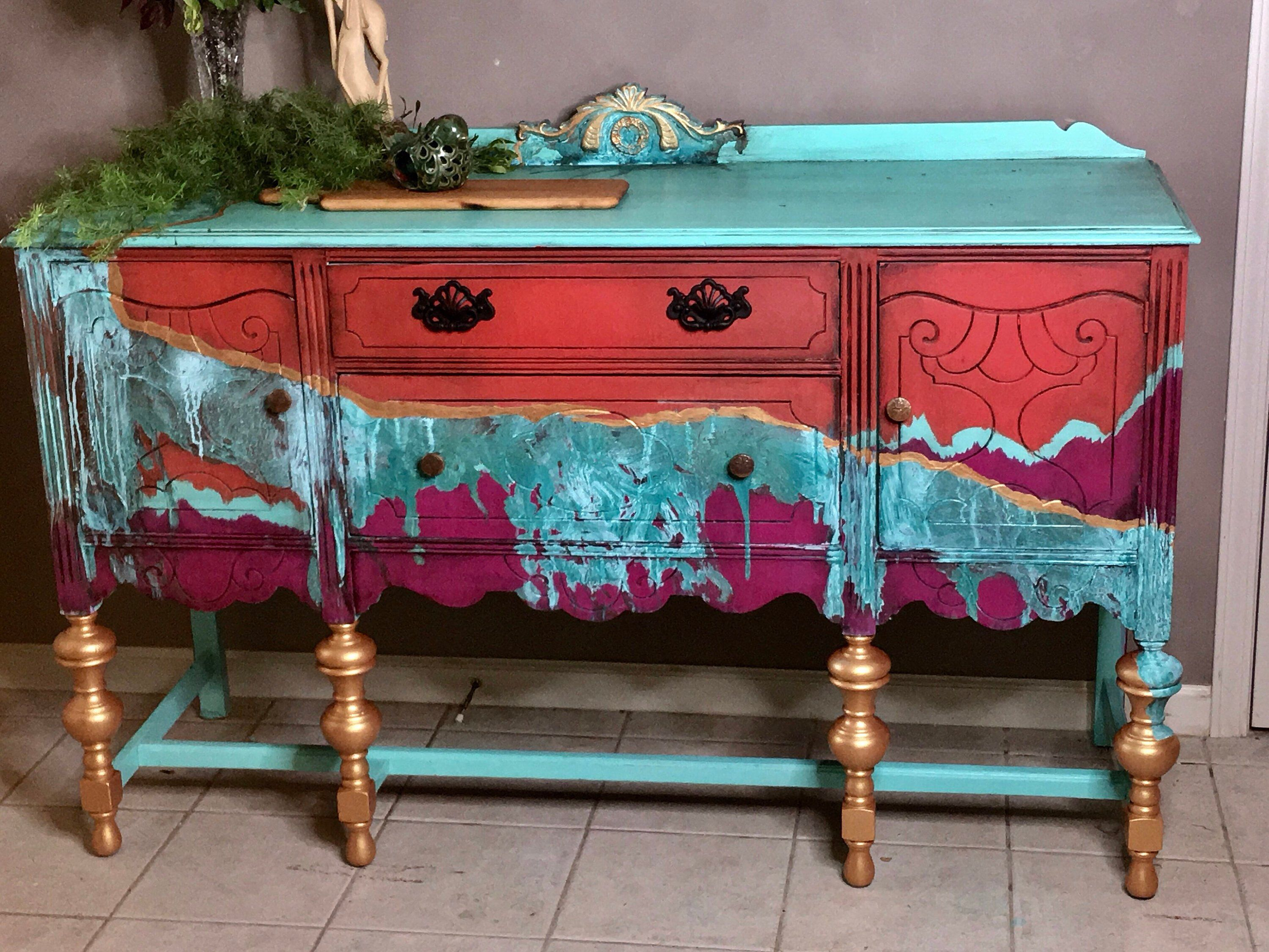 Buffet Southwest Boho Patina   Upcycle Diy In 2019   Paint Regarding Southwest Pink Credenzas (View 4 of 30)