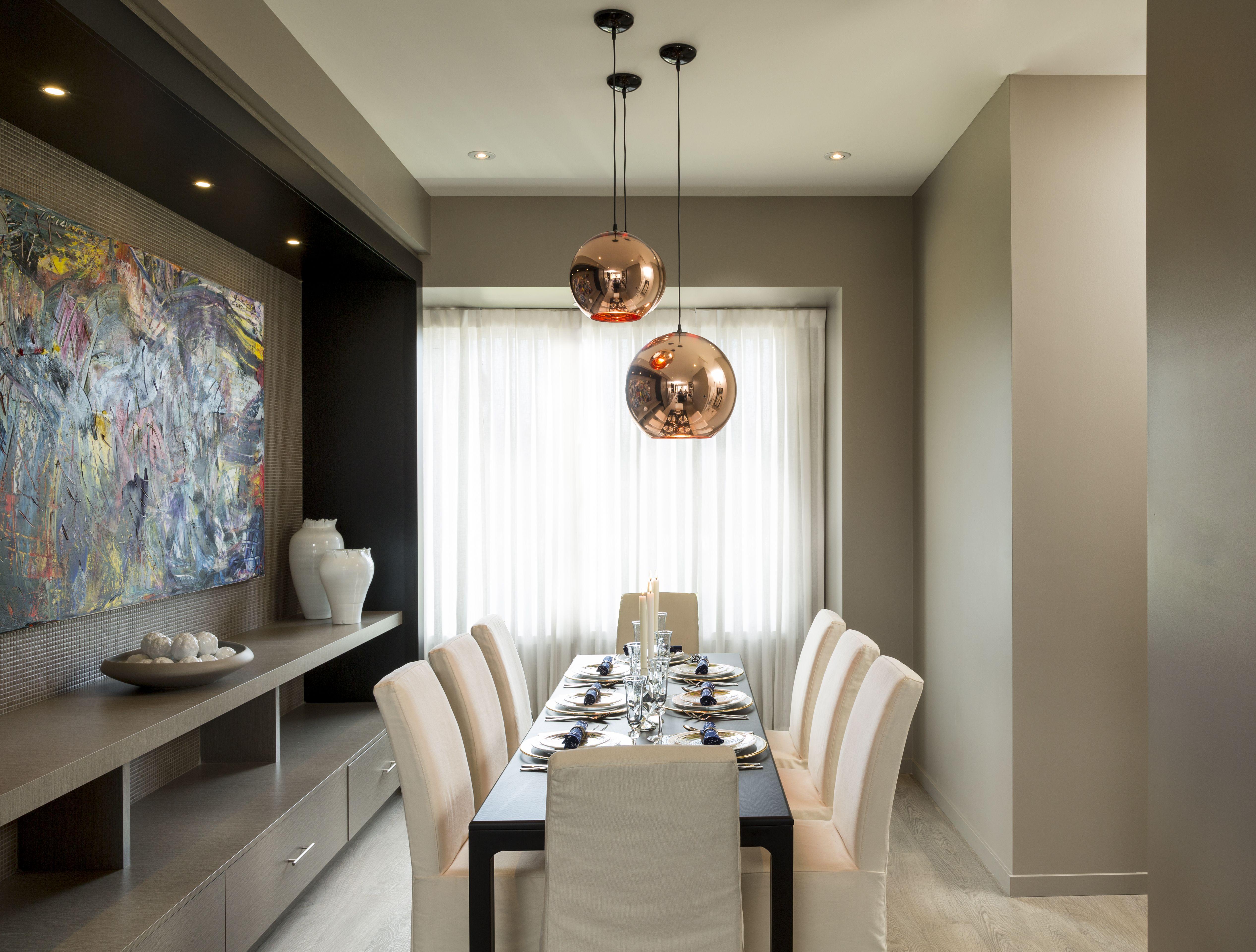 Built In Buffet Table And Modern Light Fixtures To Add A regarding Modern Natural Oak Dining Buffets (Image 5 of 30)