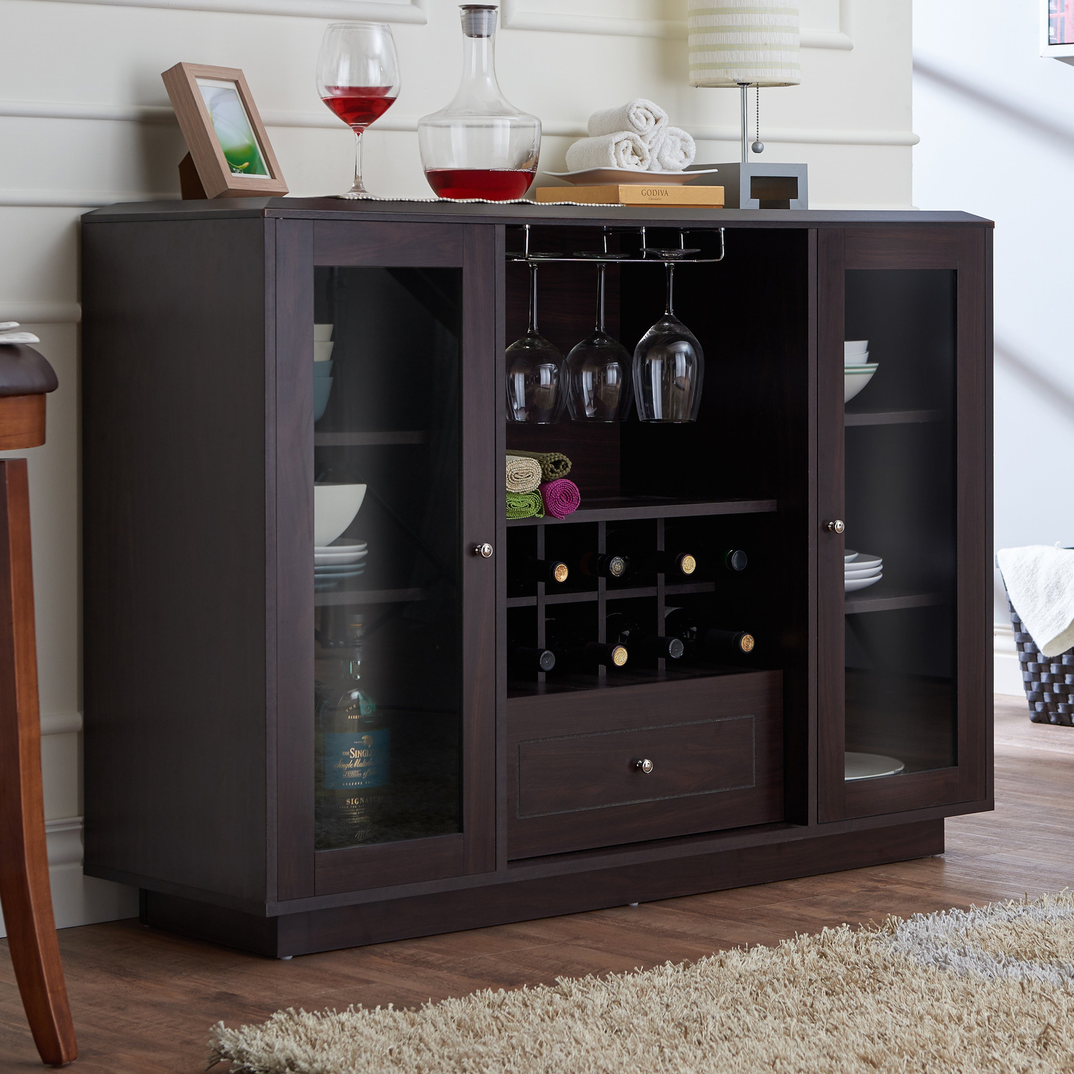 Buy Espresso Finish Buffets, Sideboards & China Cabinets Throughout Espresso Wood Multi Use Buffets (View 13 of 30)