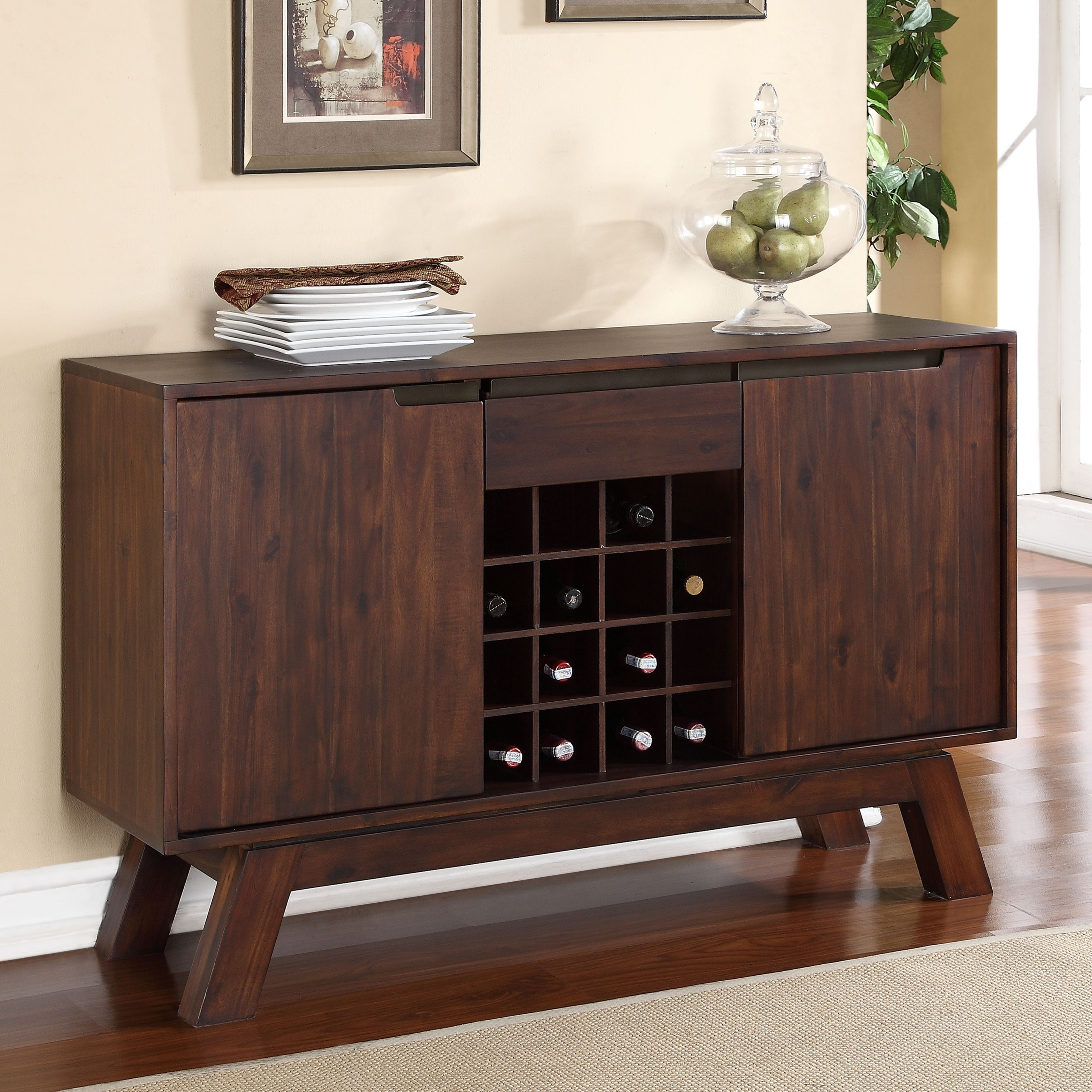 Buy Modern & Contemporary Buffets, Sideboards & China Intended For Contemporary Wooden Buffets With Four Open Compartments And Metal Tapered Legs (View 2 of 30)