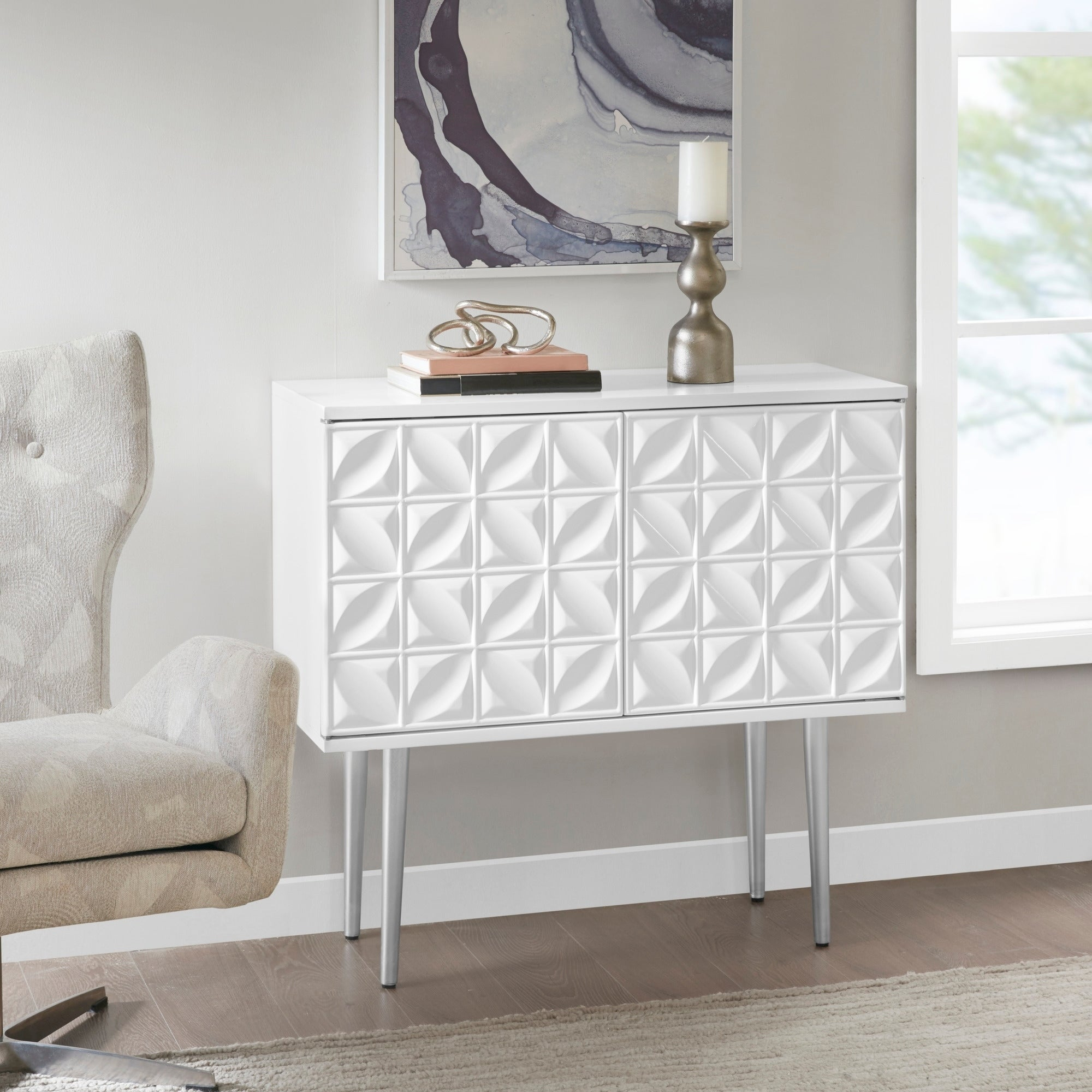 Buy Modern & Contemporary Madison Park Buffets, Sideboards with Madison Park Kagen Grey Sideboards (Image 6 of 30)