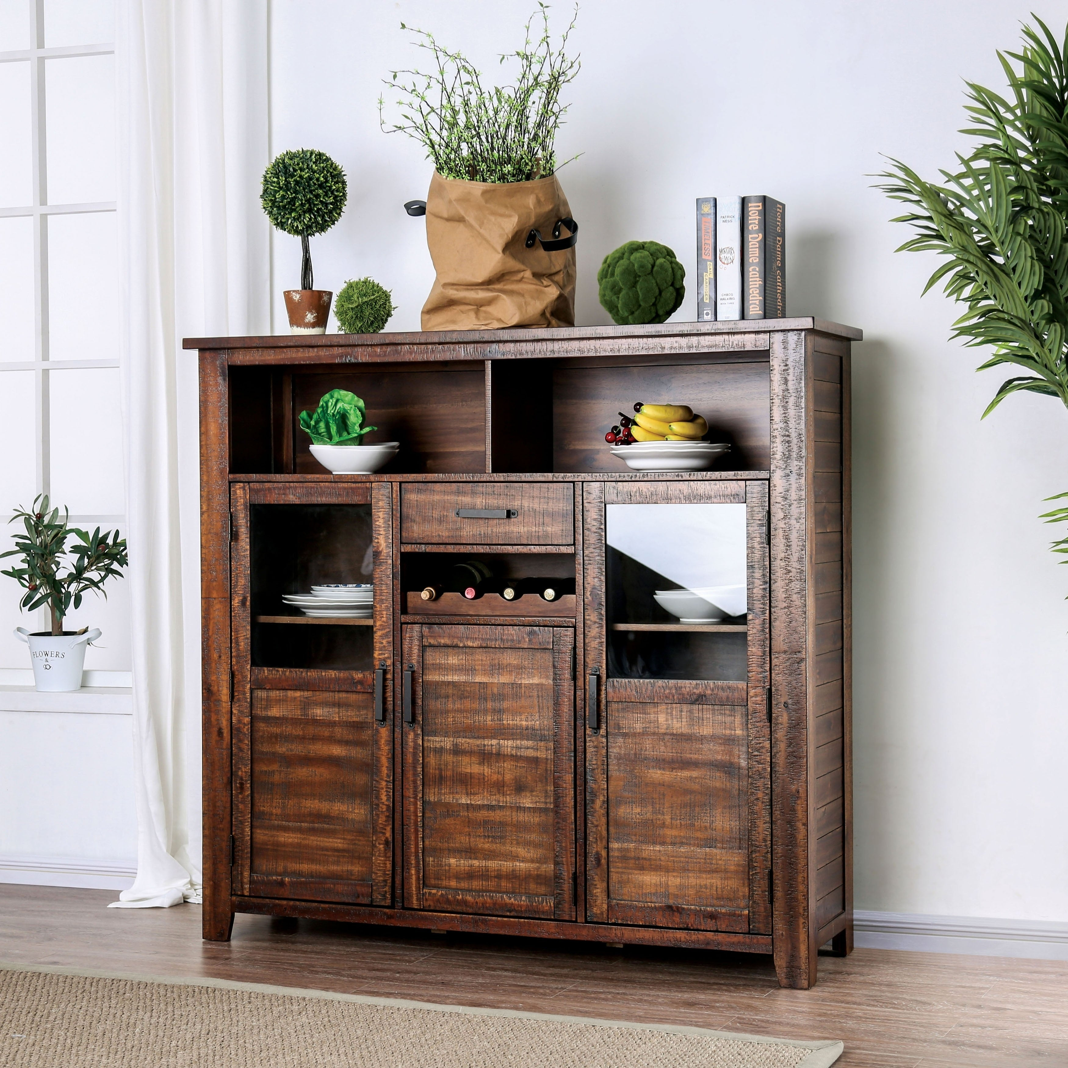 Buy Wine Bottle Storage Buffets, Sideboards & China Cabinets In Contemporary Wooden Buffets With Four Open Compartments And Metal Tapered Legs (View 3 of 30)