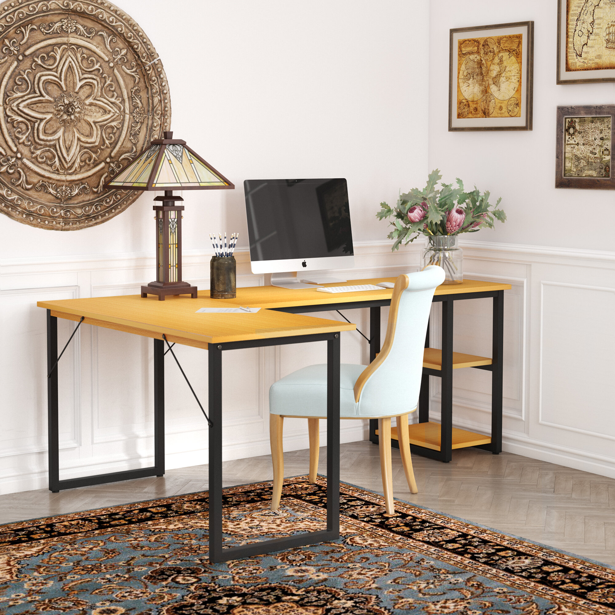 Caine Office L Shaped Credenza Desk In Caines Credenzas (View 8 of 30)