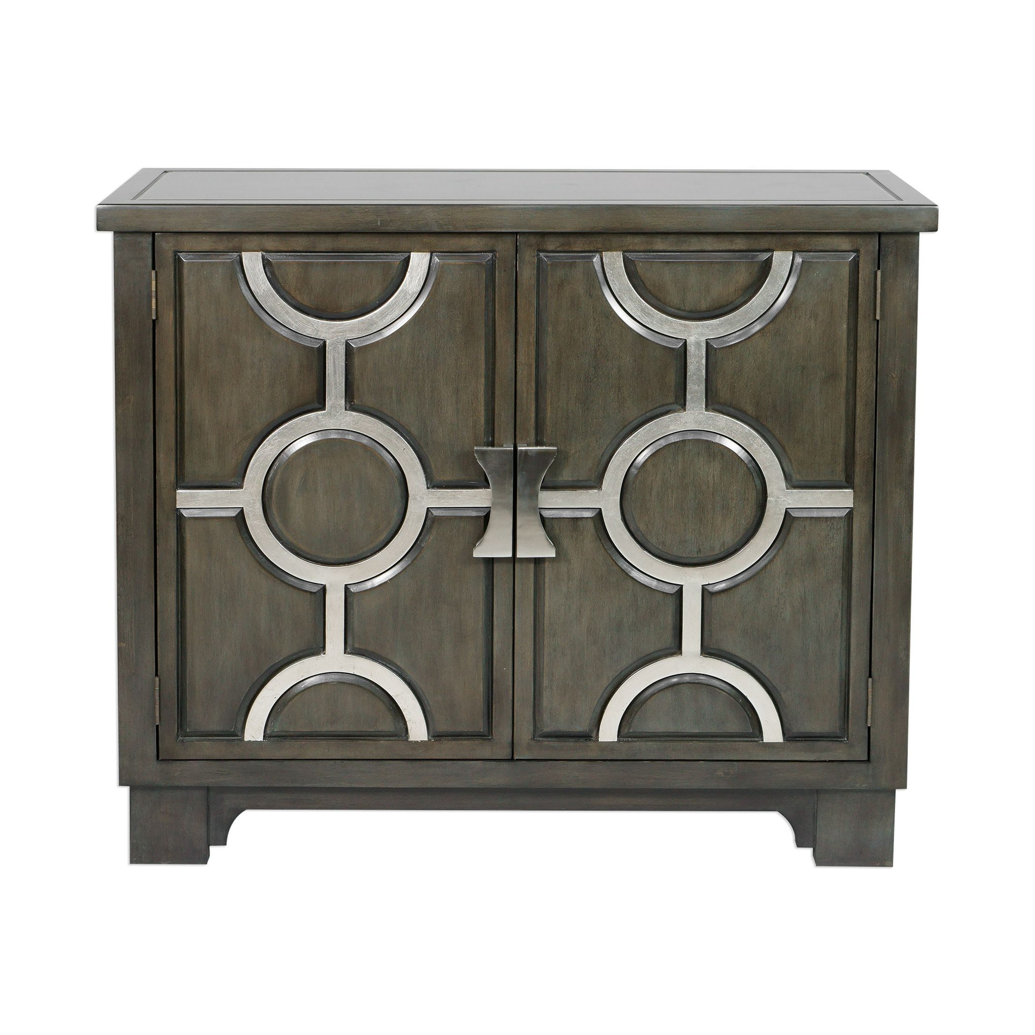 Caine Transitional Charcoal And Silver Leaf Accent Cabinet Inside Caines Credenzas (View 10 of 30)