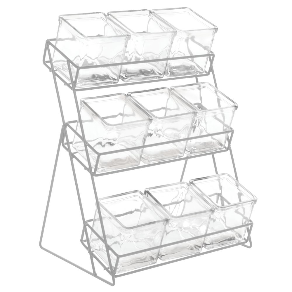"""Cal Mil Iron Essentials Collection 3 Tier Silver Metal Stand With 9 Glass Jars Countertop Organizer – 13""""l X 9 1/2""""w X 17 1/2""""h Regarding Contemporary Three Tier Glass Buffets With Black Metal Frame (View 3 of 30)"""