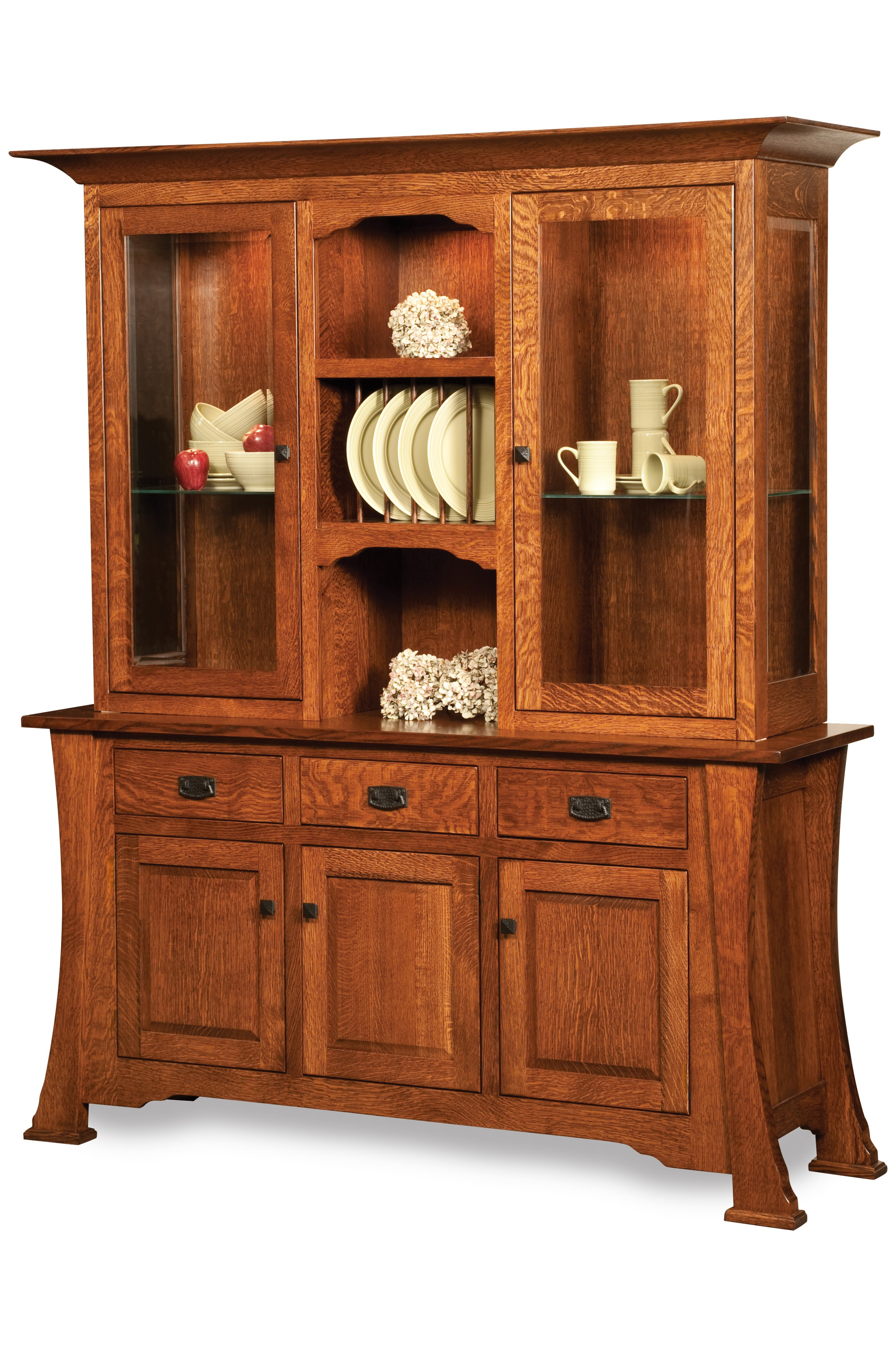 Cambridge Buffet And Hutch – Black Carriage Furniture Throughout 2 Shelf Buffets With Curved Legs (View 9 of 30)