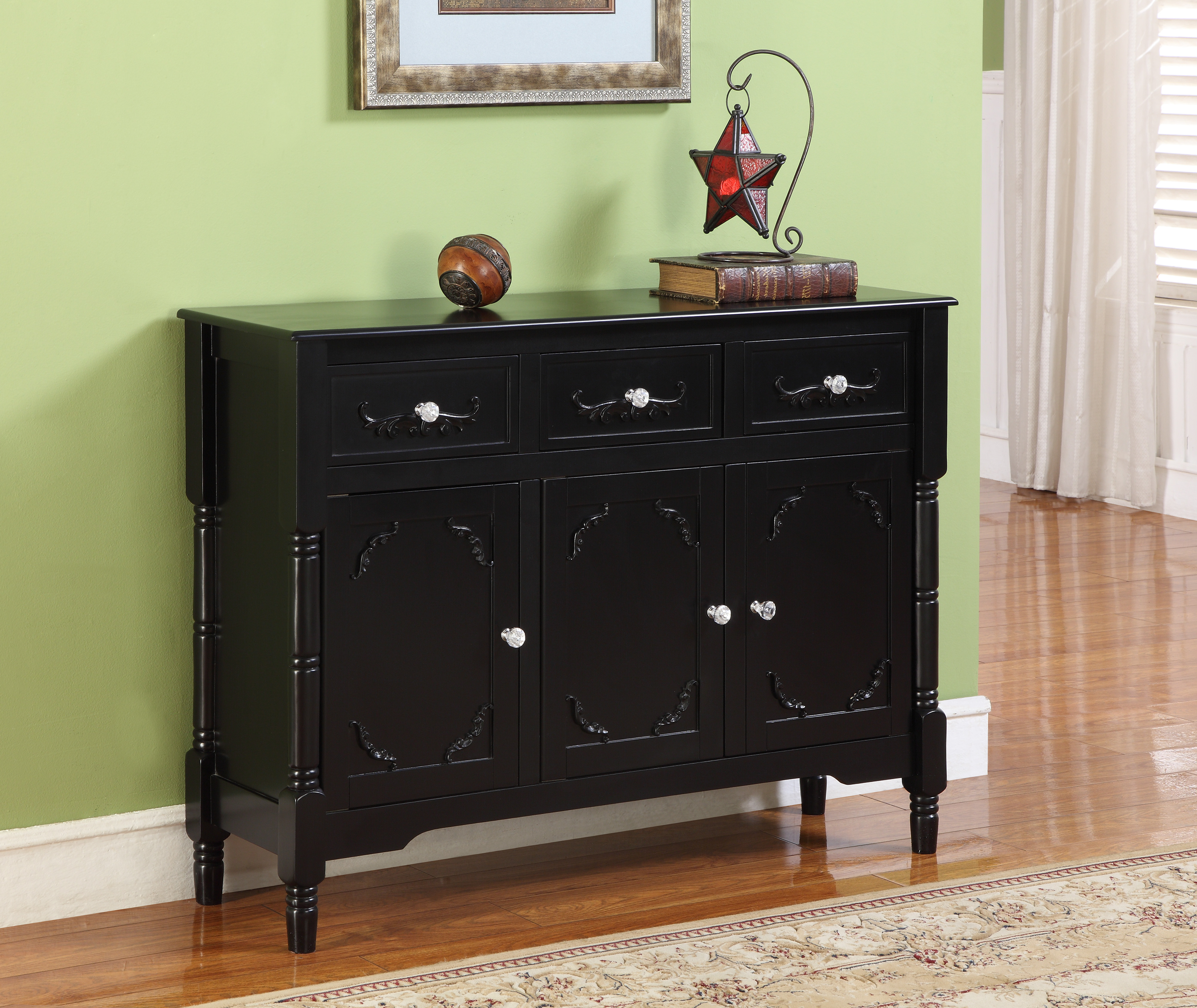 Camden Black Wood Contemporary Sideboard Buffet Display Console Table With Storage Drawers & Doors For Contemporary Black Buffets (View 7 of 30)