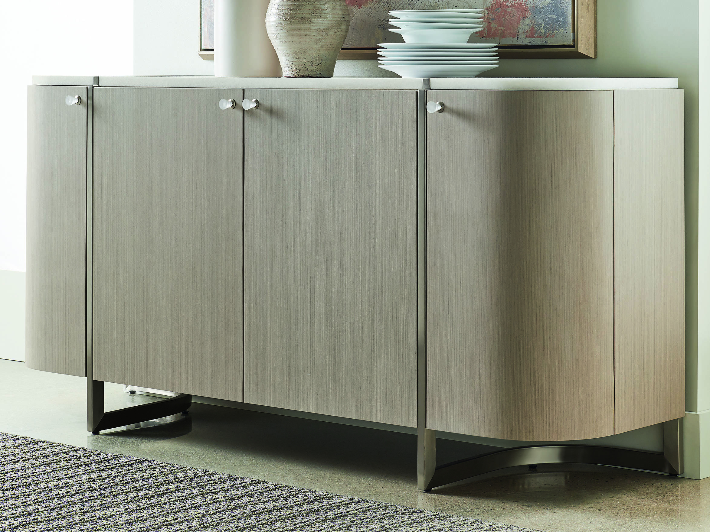 Caracole Modern Grace White Marble / Serene Dark Taupe 70''w X 19''d Rectangular Buffet Credenza Intended For 3 Drawer Titanium Buffets (View 3 of 30)