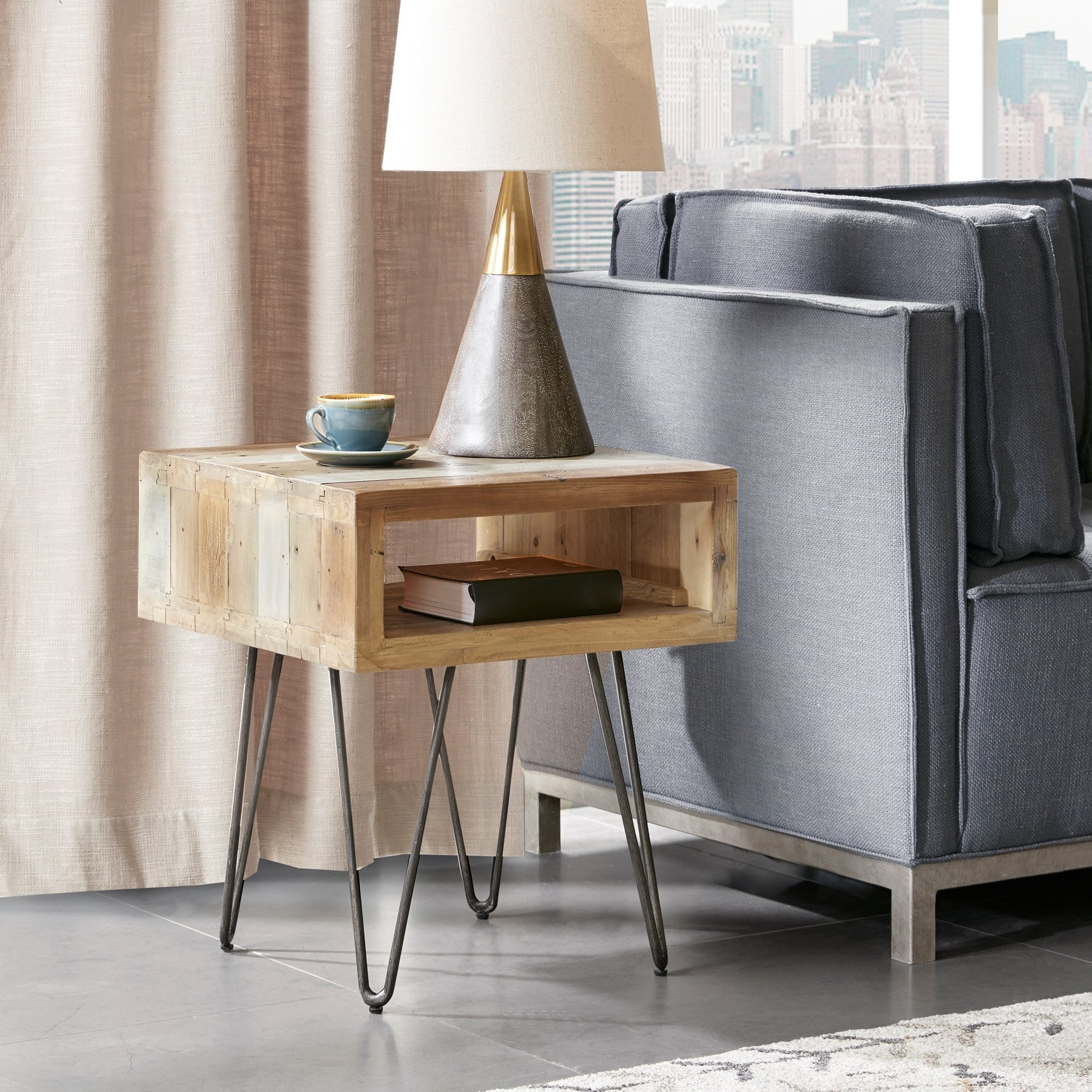Carbon Loft Fischer Brown End Table (Brown) | Products In intended for Madison Park Kagen Grey Sideboards (Image 7 of 30)