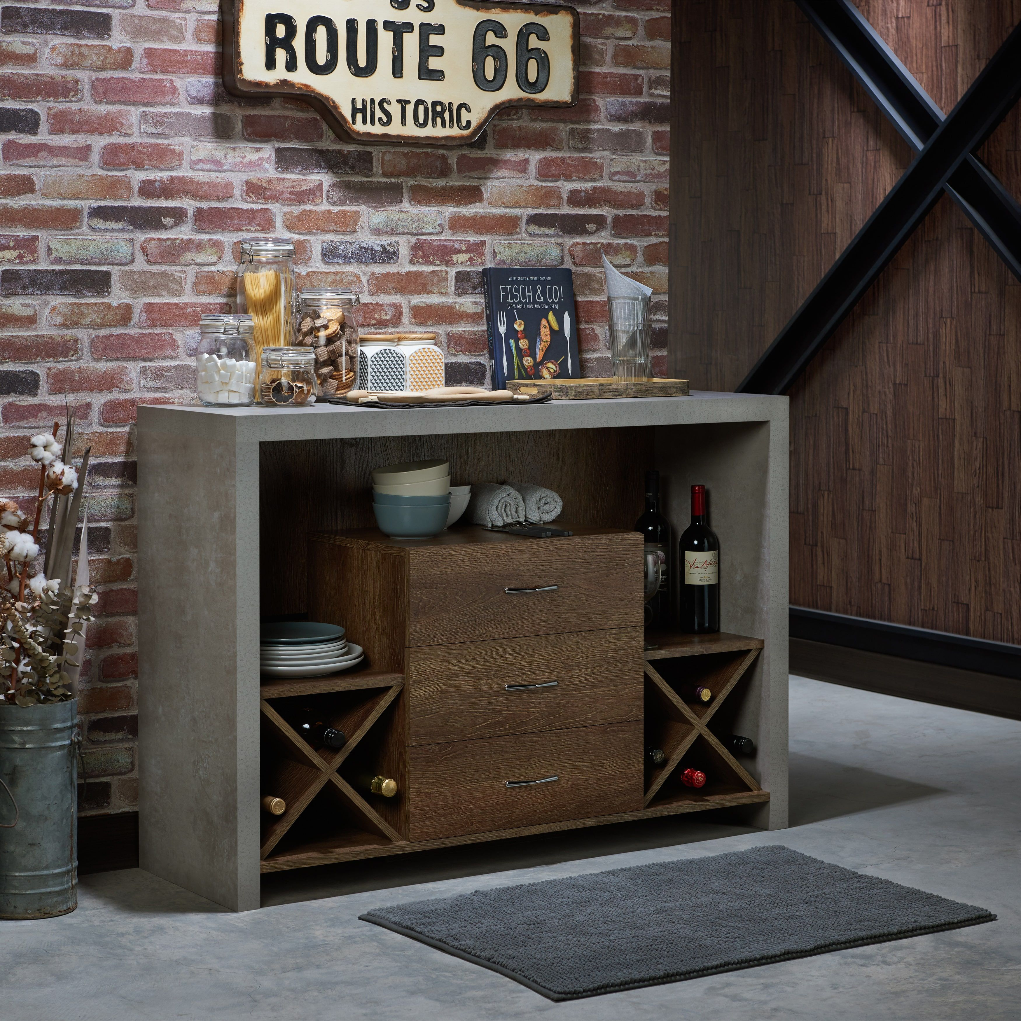 Carbon Loft Graysen Industrial Concrete-Like Buffet In 2019 with regard to Industrial Cement-Like Multi-Storage Dining Buffets (Image 5 of 30)