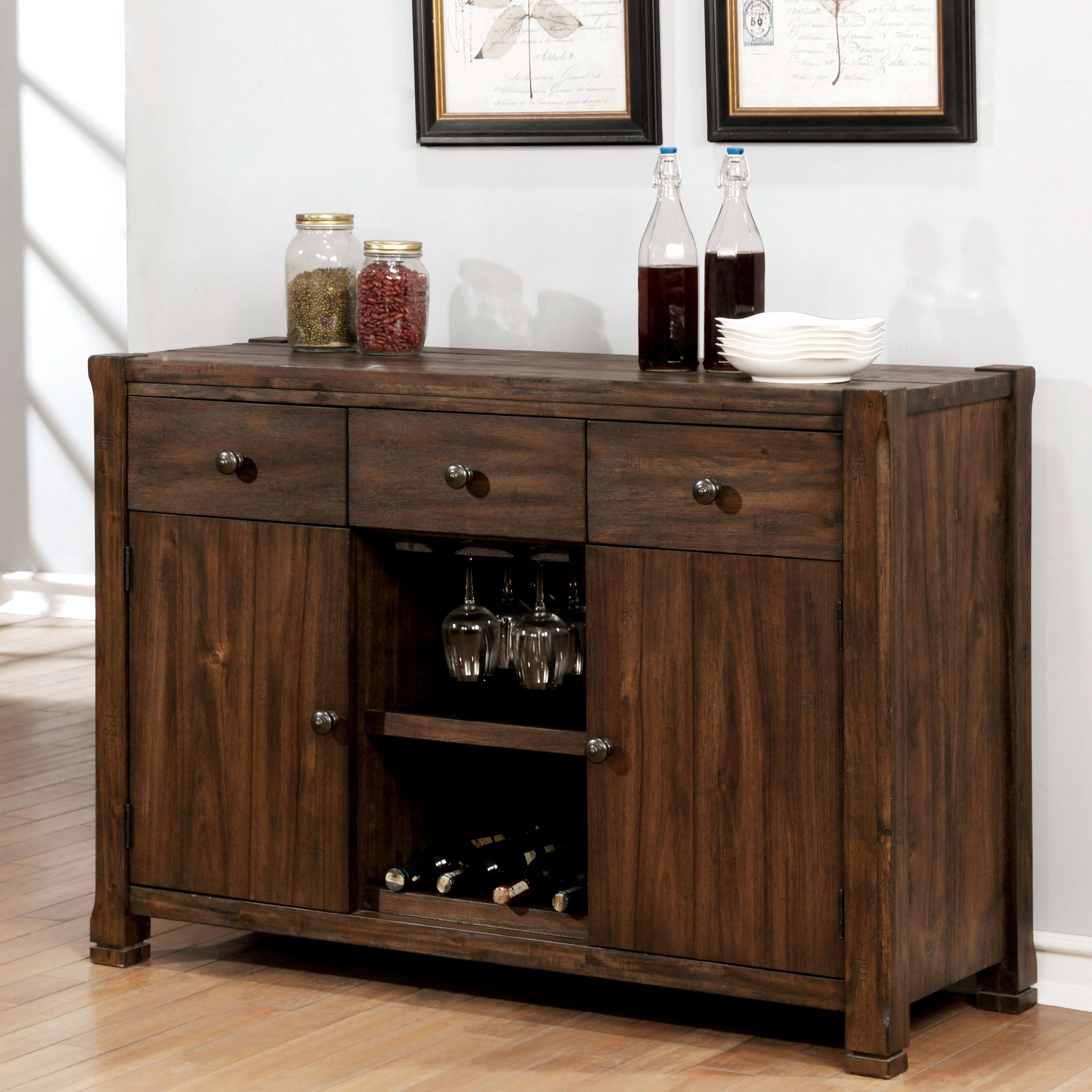Carbon Loft Sawalha Rustic Walnut 3-Drawer Buffet throughout Rustic Walnut Dining Buffets (Image 8 of 30)