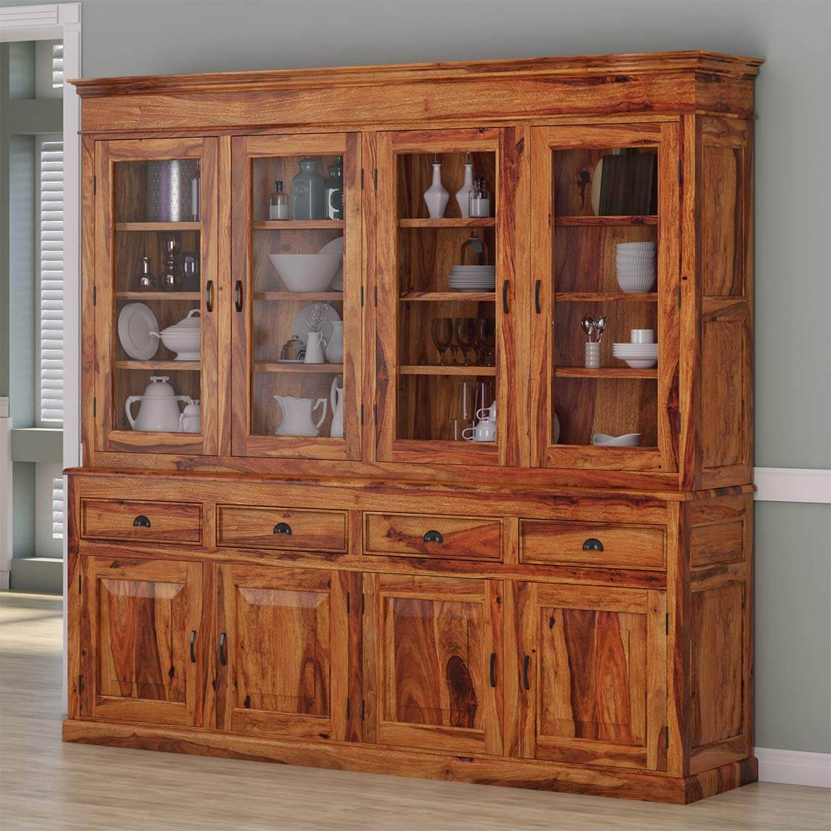 Cariboo Contemporary Rustic Solid Wood Dining Room Large Buffet Hutch Throughout Contemporary Espresso 2 Cabinet Dining Buffets (View 6 of 30)
