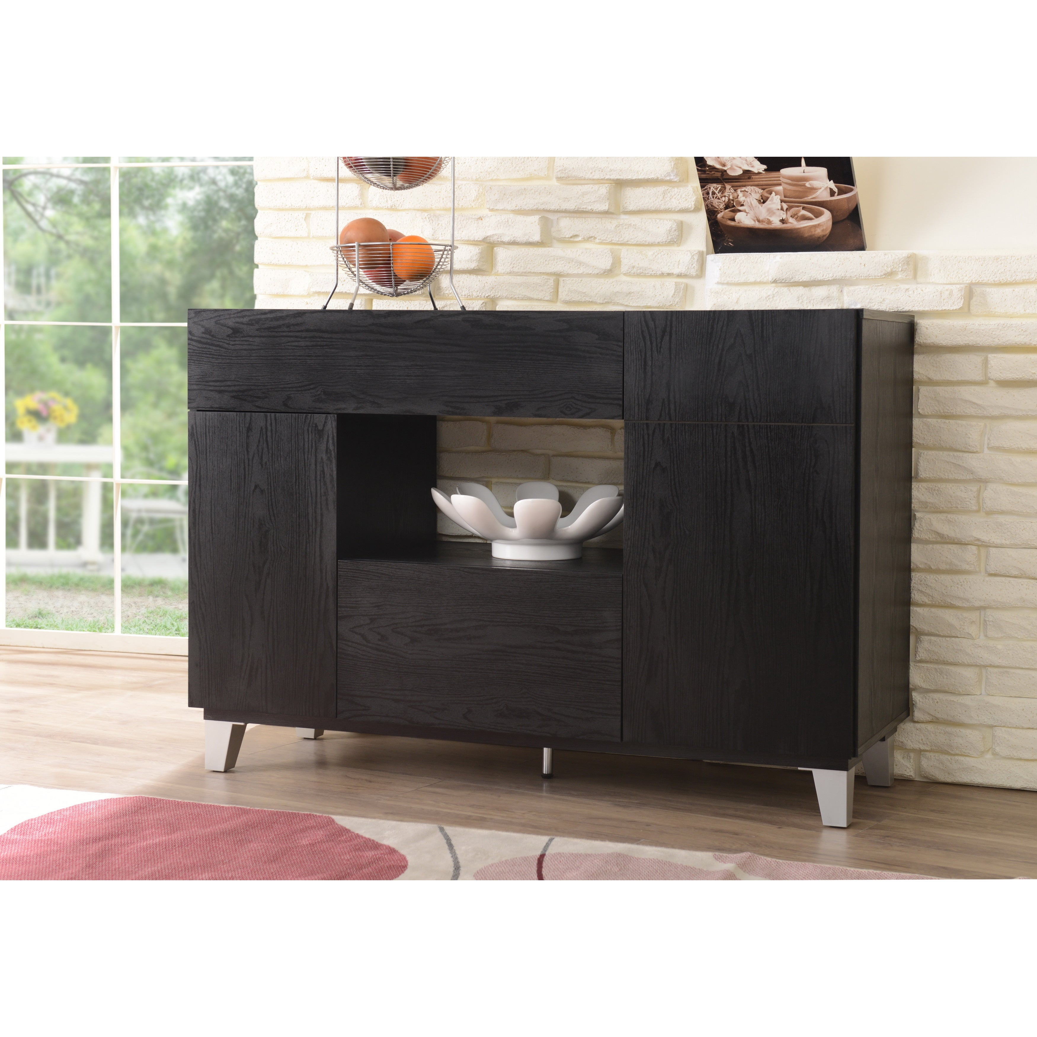 Carrera Contemporary 47 Inch Black Dining Buffet Storage Serverfoa Intended For Carrera Contemporary Black Dining Buffets (View 7 of 30)
