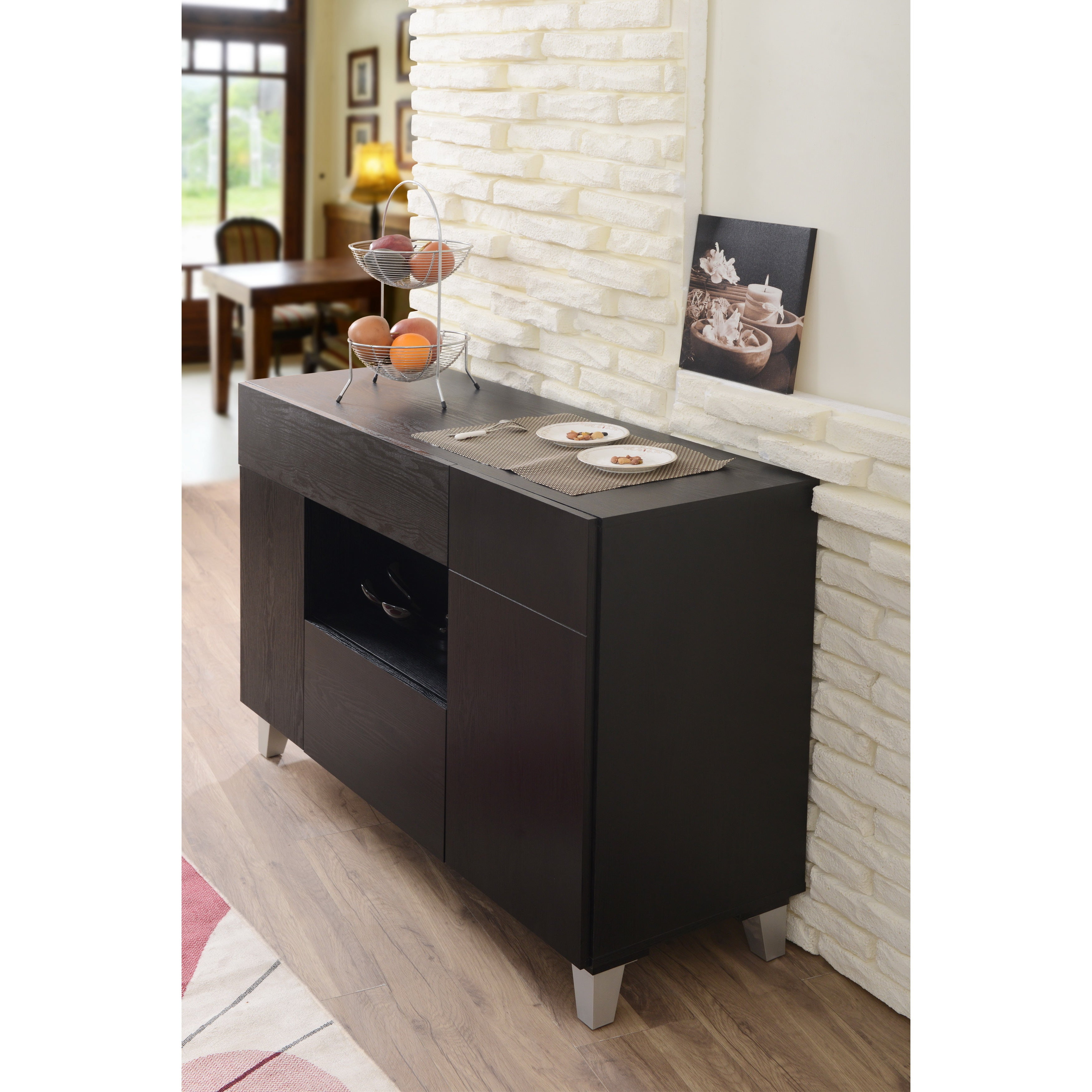 Carrera Contemporary 47 Inch Black Dining Buffet Storage Serverfoa Intended For Carrera Contemporary Black Dining Buffets (View 6 of 30)