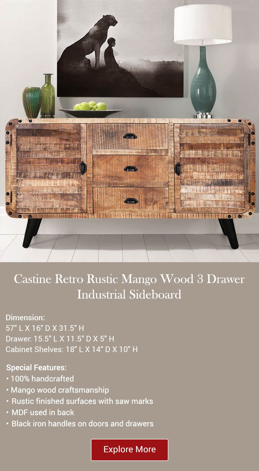 Castine Retro Rustic Mango Wood 3 Drawer Industrial Intended For Industrial Style 3 Drawer Buffets (View 10 of 30)