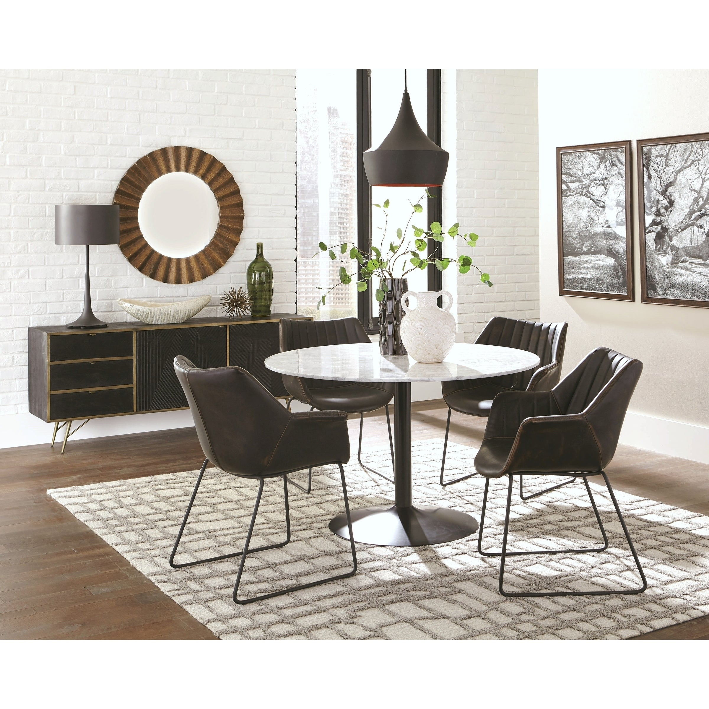 Casual Italian Carrera Marble Top Dining Set With Buffet Storage Server With Carrera Contemporary Black Dining Buffets (View 12 of 30)