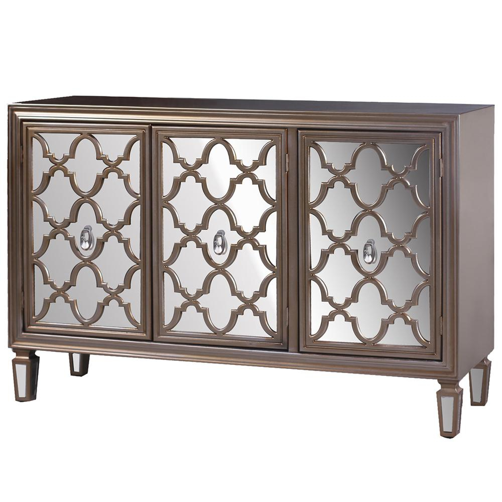 Champagne Silver 3-Door With Mirrored Door Fronts Credenza inside 3-Piece Mirrored Buffets (Image 6 of 30)