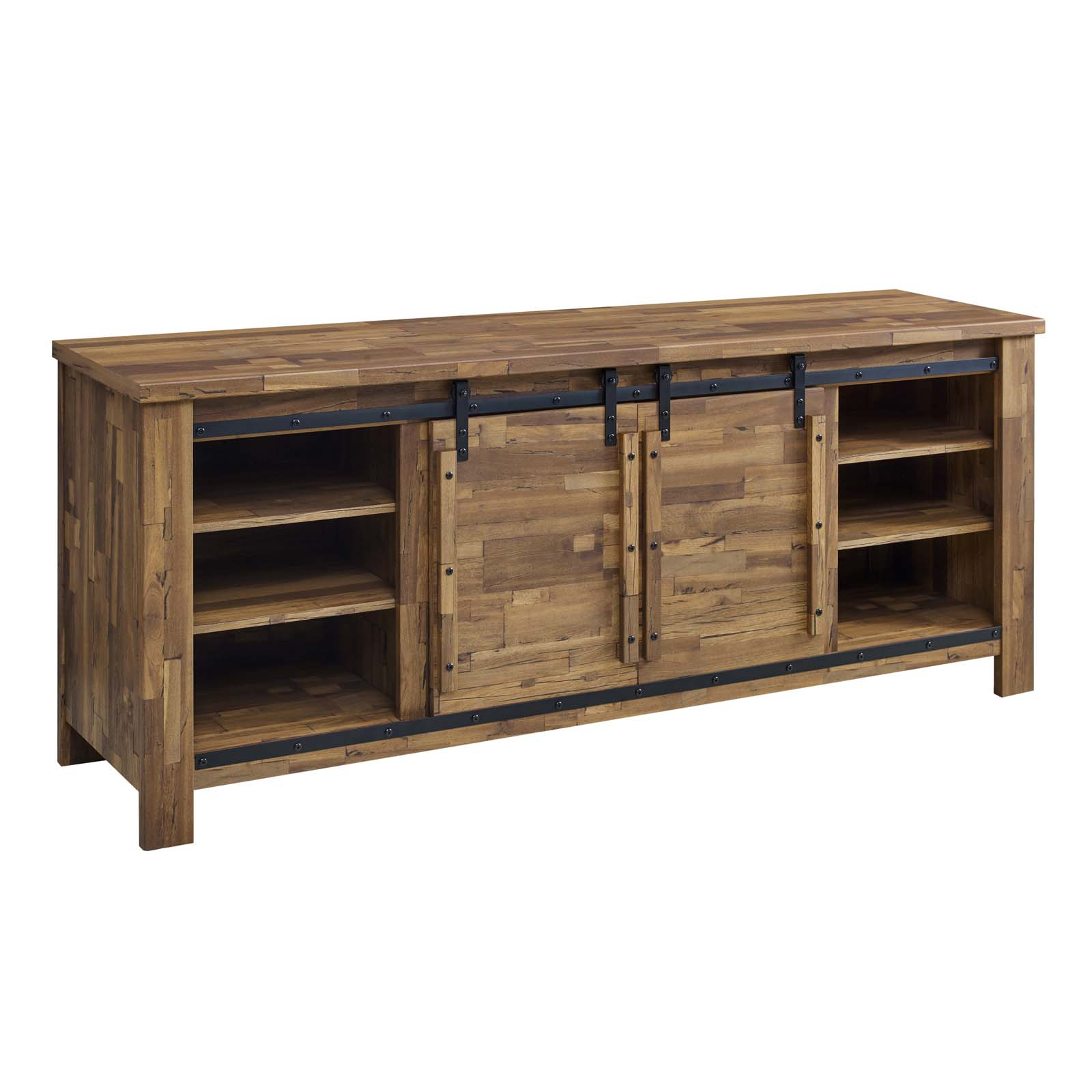 """Cheshire 70"""" Rustic Sliding Door Buffet Table Sideboard Walnut Pertaining To Rustic Walnut Buffets (View 20 of 30)"""