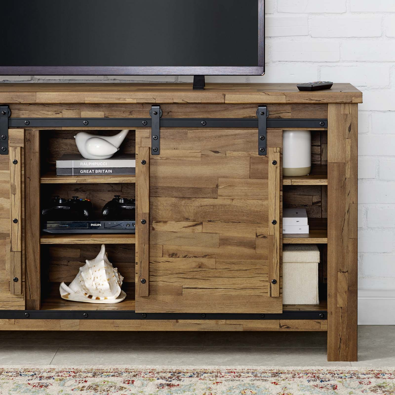 """Cheshire 71"""" Rustic Sliding Door Tv Stand 