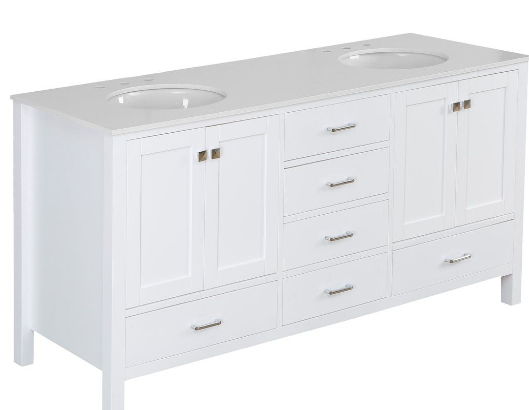 """Cheshunt Full Cabinet 72"""" Double Bathroom Vanity Set In 2019 for Arminta Wood Sideboards (Image 7 of 30)"""