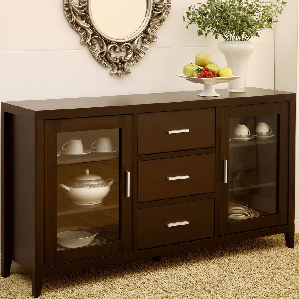 China Buffet Cabinet Sideboard Hutch Storage Dining With Contemporary Espresso Dining Buffets (View 7 of 30)