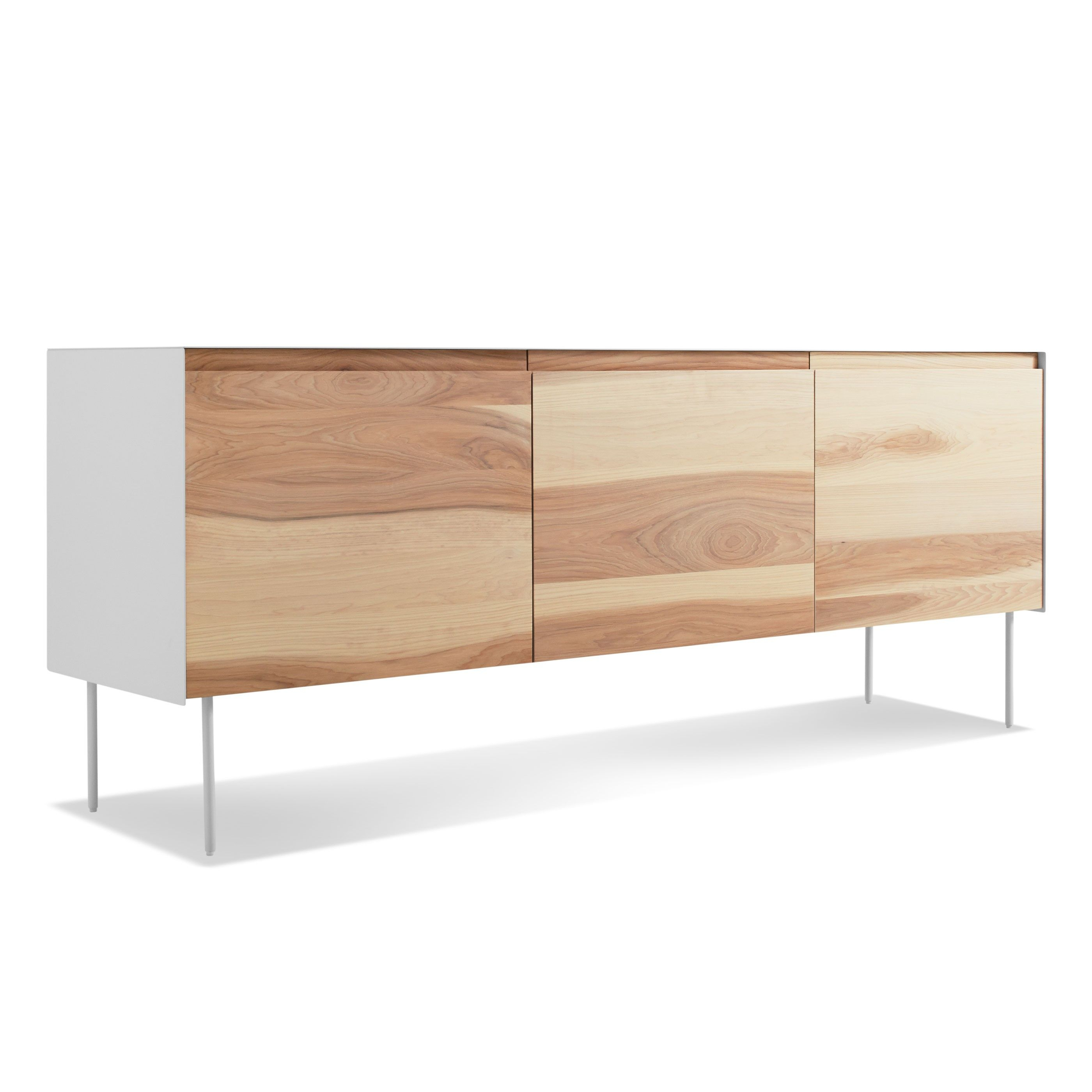 Clad 3 Door Credenza, Hickory / White | Rao | Credenza With Stephen Credenzas (View 6 of 30)