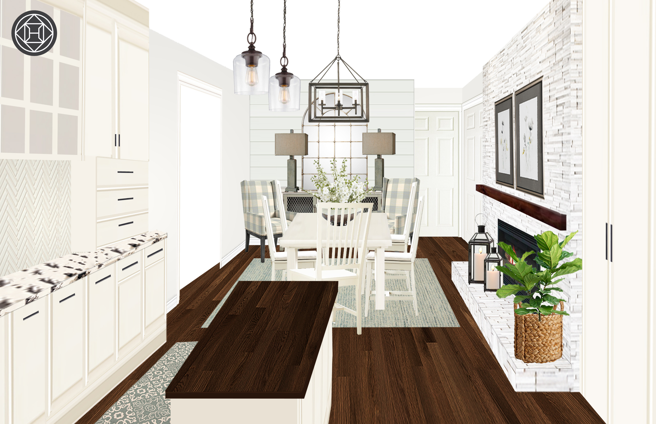 Classic, Farmhouse Dining Room Designhavenly Interior Throughout Fugate 2 Door Credenzas (View 11 of 30)