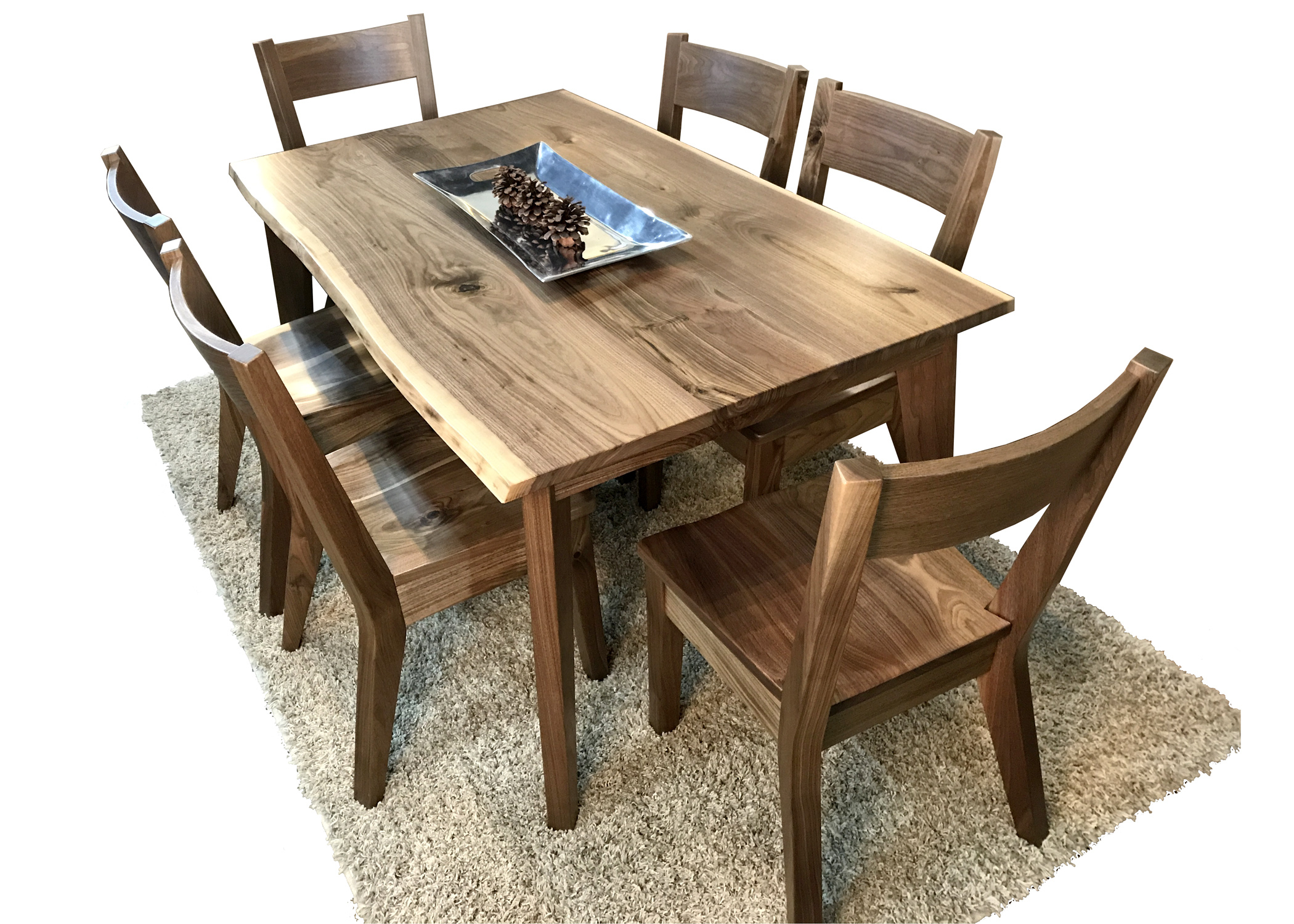 Closeout Special Price - Dining Table & 6 Chairs in Rustic Walnut Dining Buffets (Image 10 of 30)
