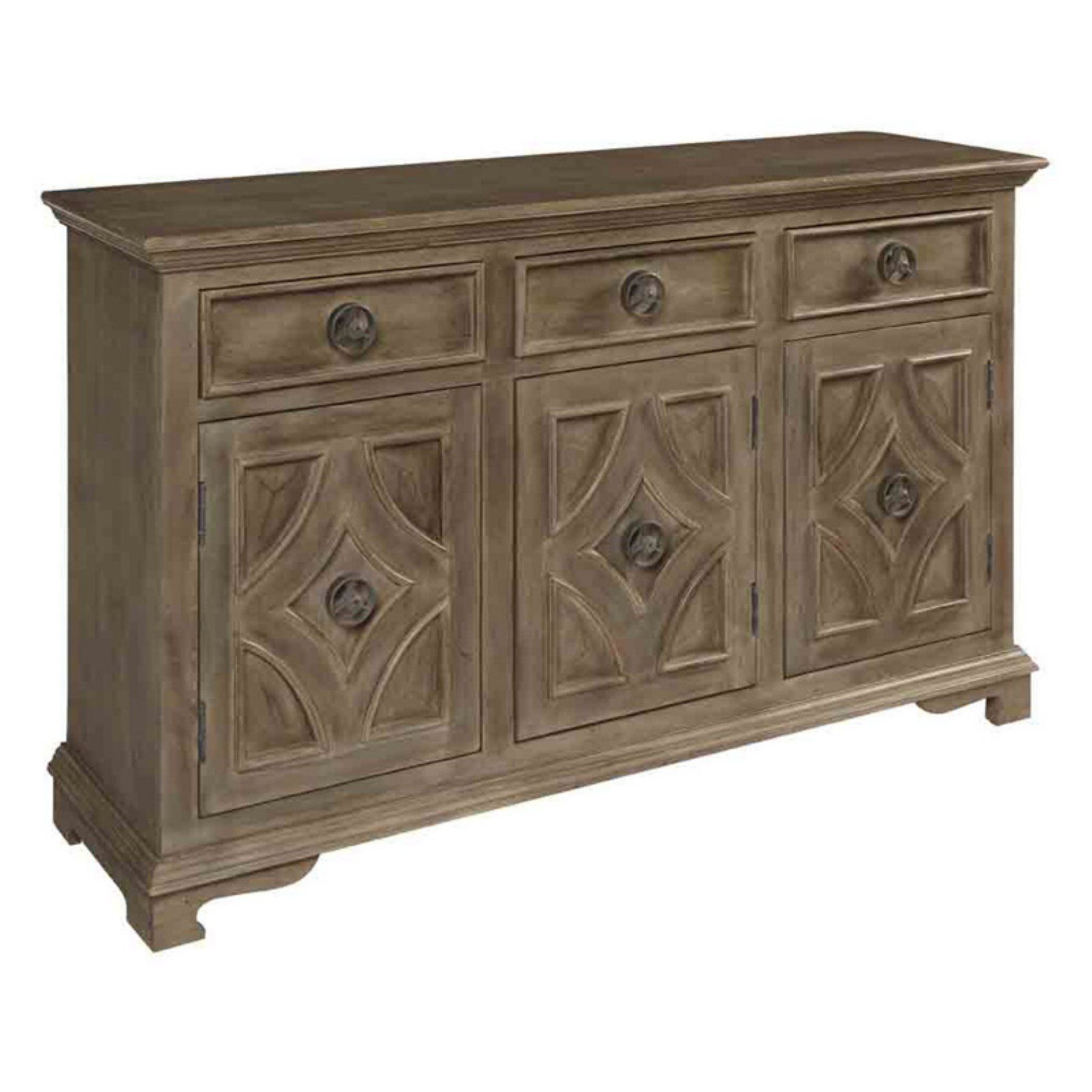 Coast To Coast Khetri Smoke Gray 3 Door Sideboard – 63143 Throughout Sideboards By Foundry Select (View 8 of 30)