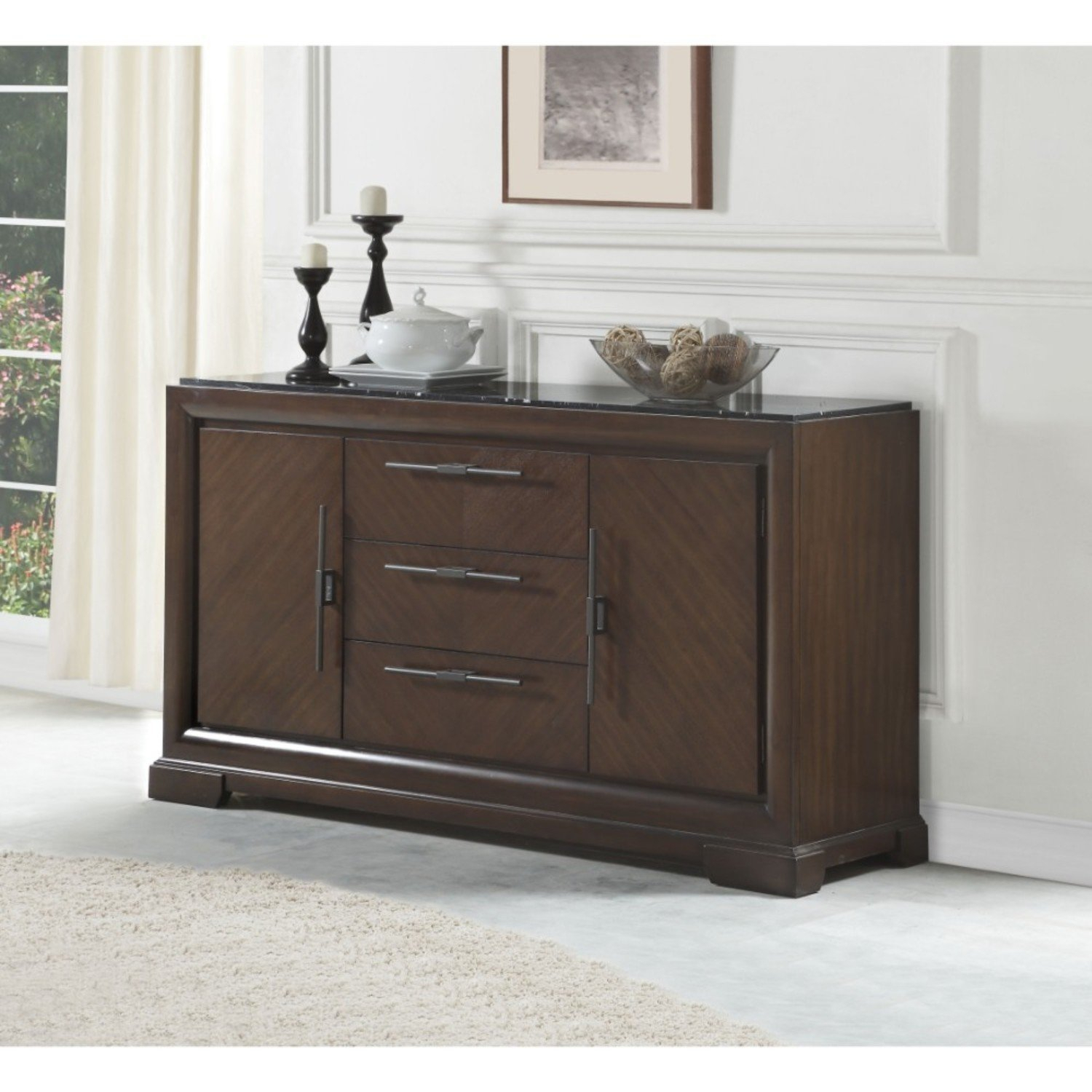Coley Three Drawers Wooden Credenza pertaining to Colorful Leaves Credenzas (Image 6 of 30)