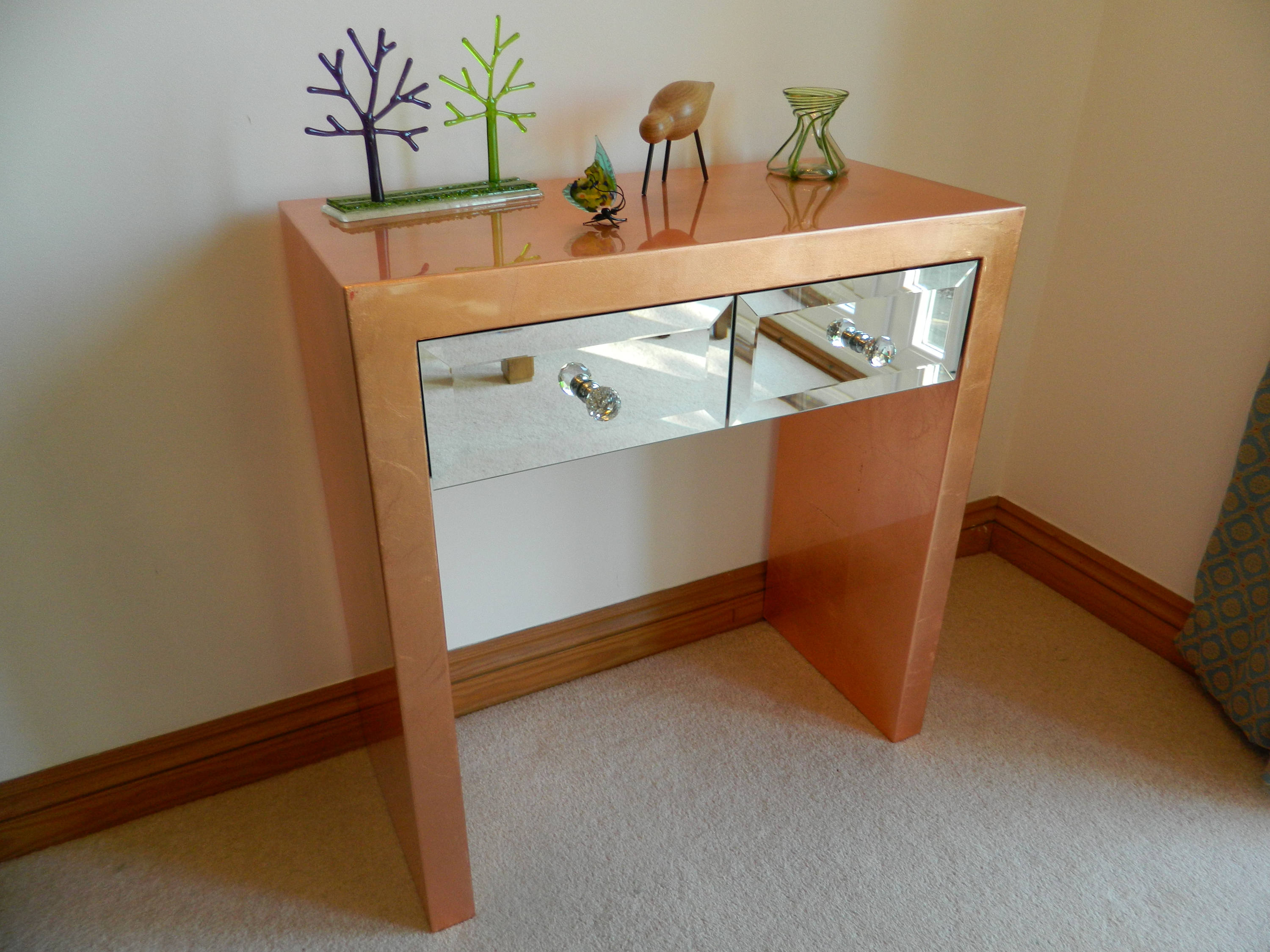 Console Table Copper Leaf Mirror Gloss For Copper Leaf Wood Credenzas (View 5 of 30)