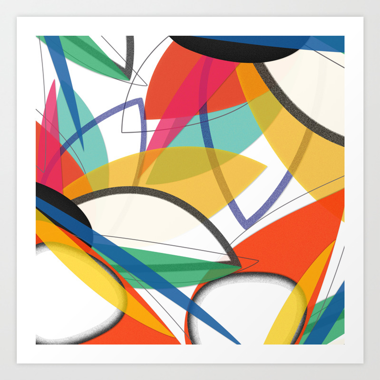 Contemporary Composition Of Multicolored Abstract Flowers, Superposition Of  Geometric Shapes Art Print pertaining to Multi Colored Geometric Shapes Credenzas (Image 6 of 30)