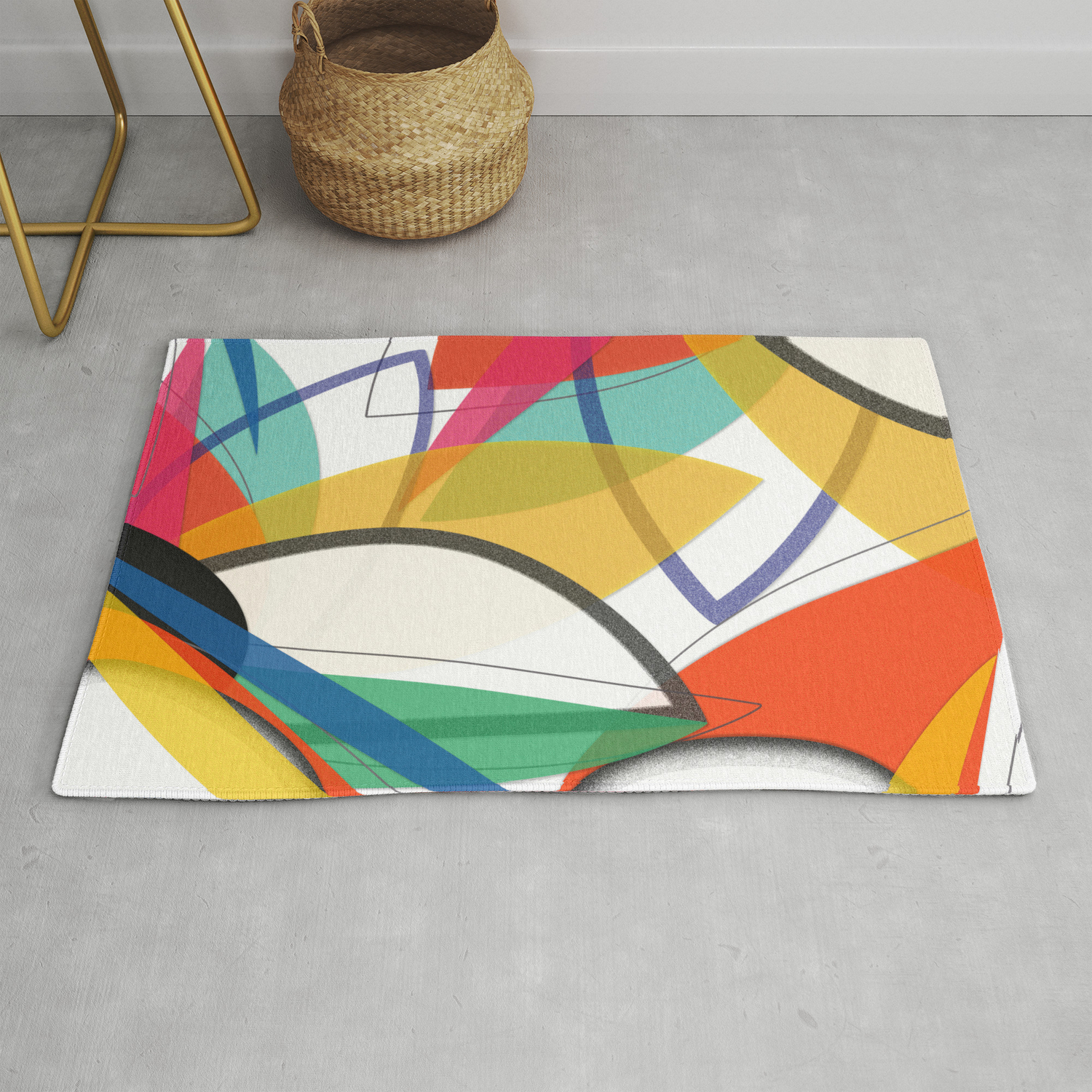 Contemporary Composition Of Multicolored Abstract Flowers, Superposition Of  Geometric Shapes Rugetdix in Multi Colored Geometric Shapes Credenzas (Image 7 of 30)