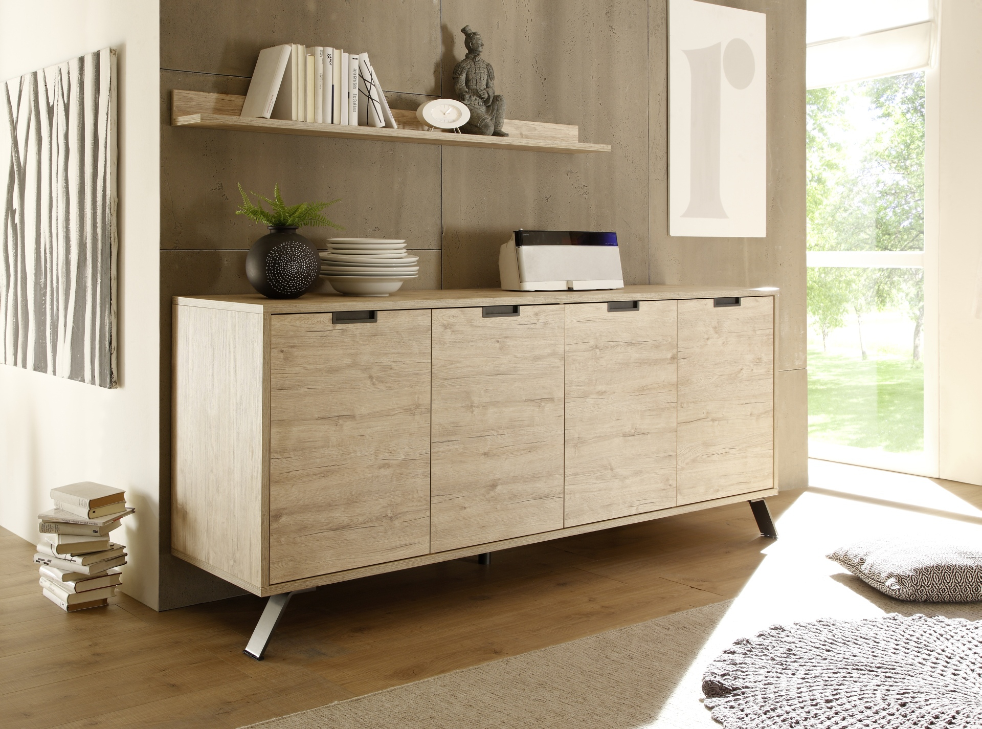 Contemporary Light Oak 4 Door Dining Buffet With Soft Closing Doors intended for Modern Natural Oak Dining Buffets (Image 13 of 30)
