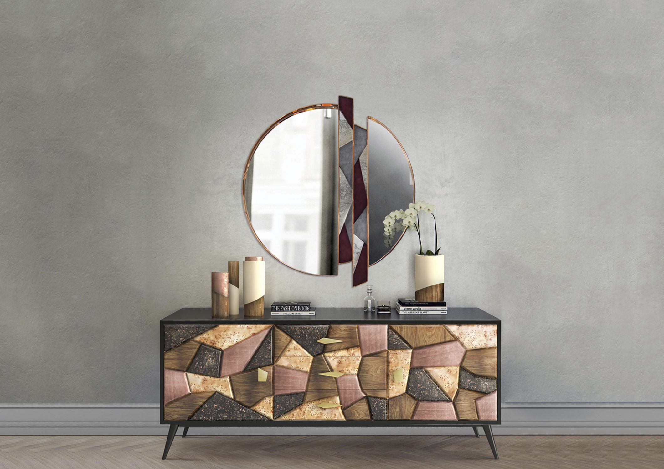 Contemporary Sideboard / American Walnut / Copper / Marble Pertaining To Copper Leaf Wood Credenzas (View 6 of 30)