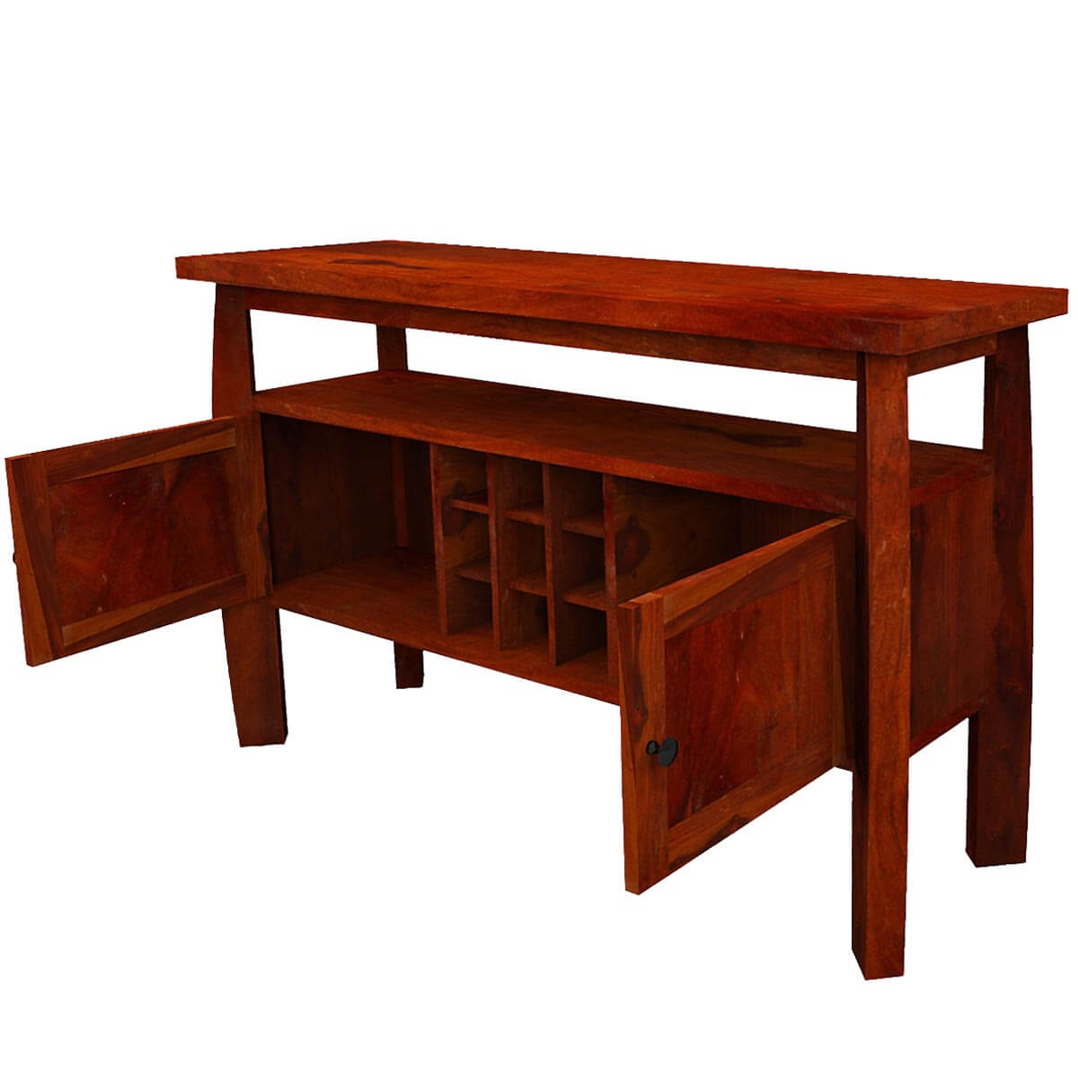 Contemporary Solid Wood Standing Wine Bar Rustic Buffet Table Intended For Contemporary Wine Bar Buffets (View 12 of 30)