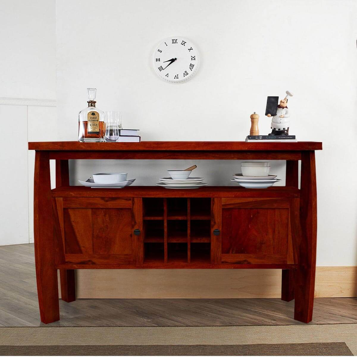 Contemporary Solid Wood Standing Wine Bar Rustic Buffet Table Throughout Contemporary Wine Bar Buffets (View 13 of 30)