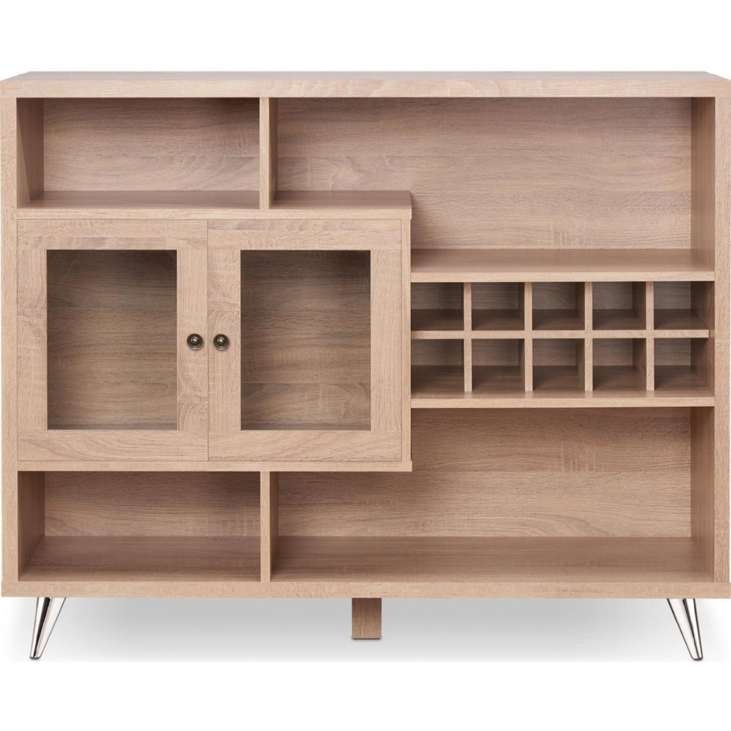 Popular Photo of Contemporary Wooden Buffets With Four Open Compartments And Metal Tapered Legs
