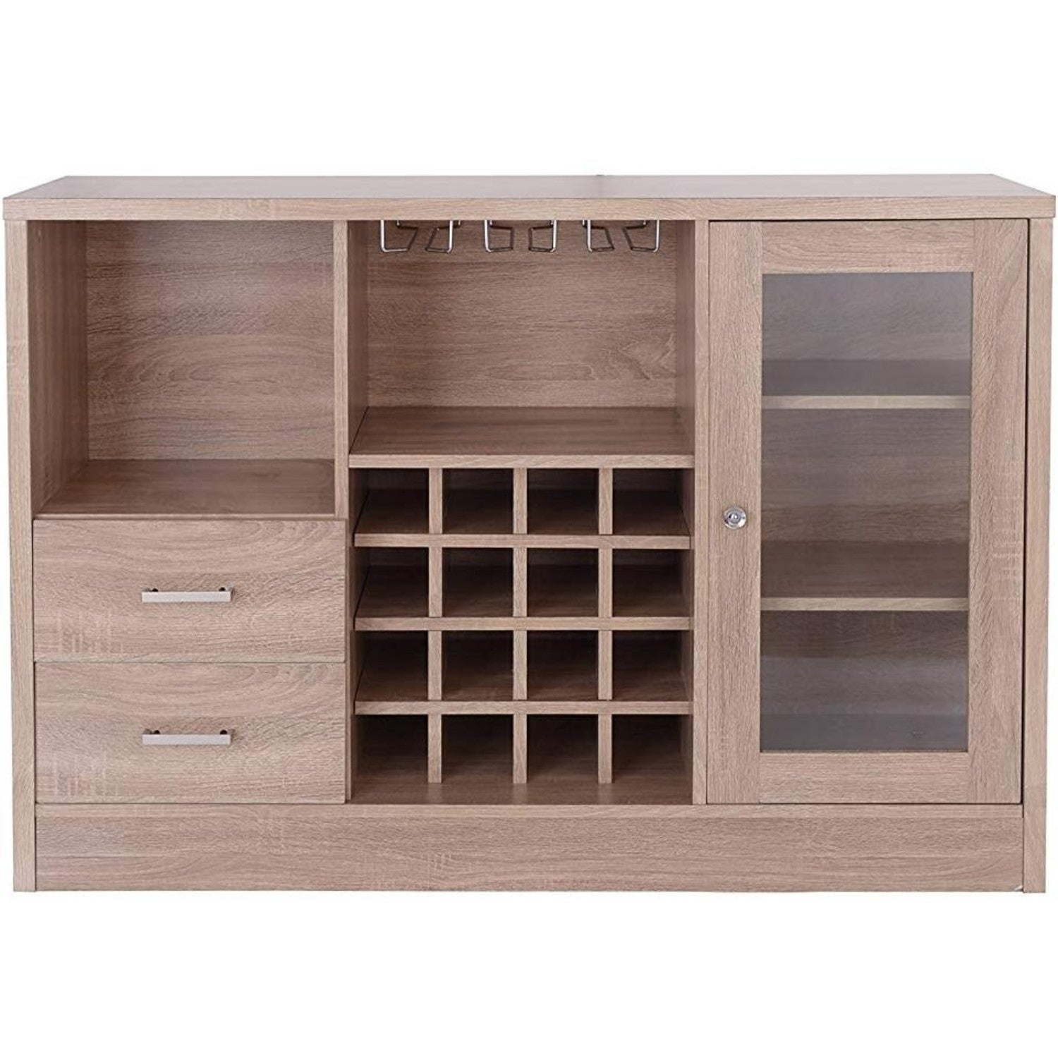Contemporary Wooden Server With One Side Door Storage Cabinets And Two Drawers, Brown Intended For Contemporary Wooden Buffets With Four Open Compartments And Metal Tapered Legs (View 6 of 30)