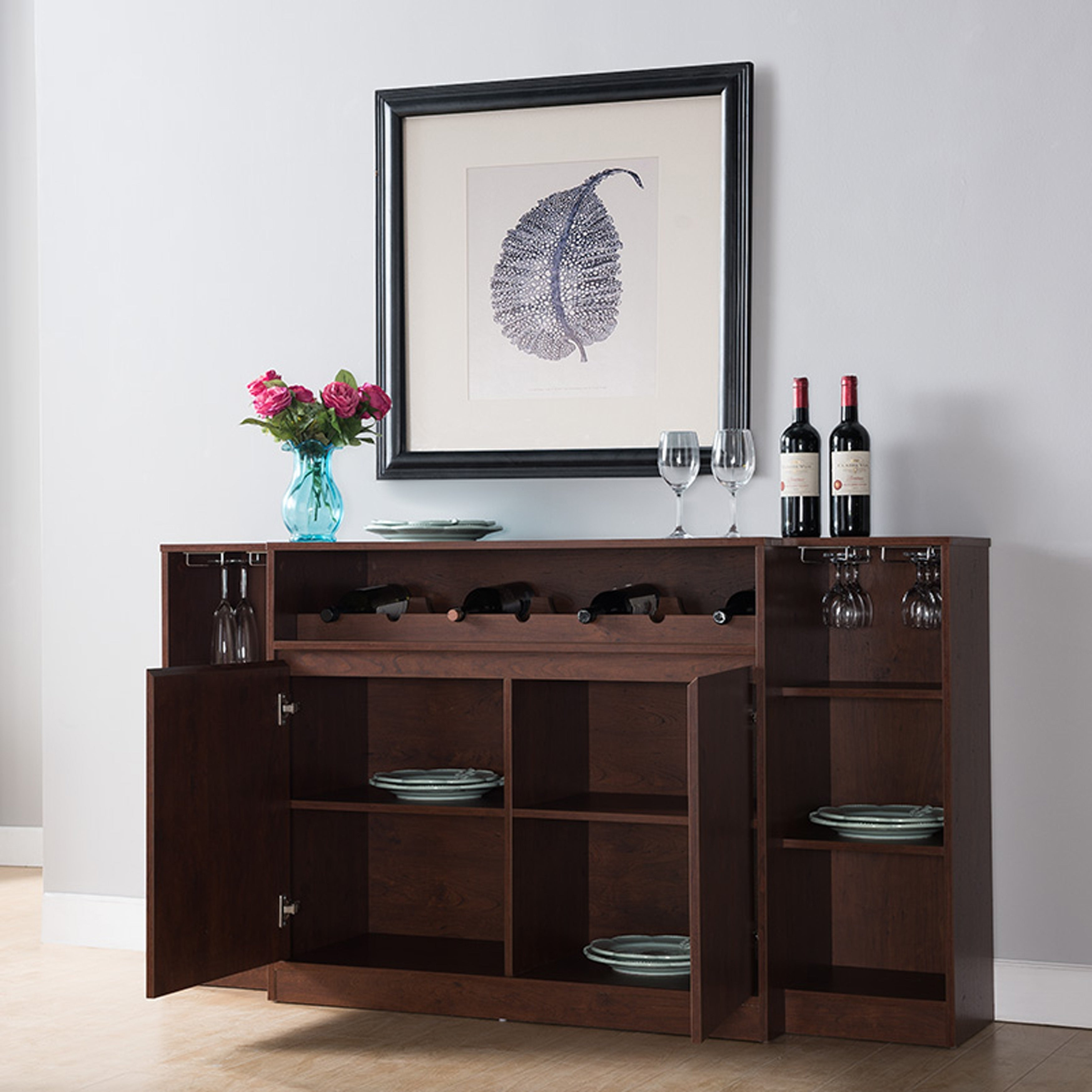 Copper Grove Dubrovnik Rustic Vintage Walnut Wine Rack Buffet in Rustic Walnut Dining Buffets (Image 11 of 30)