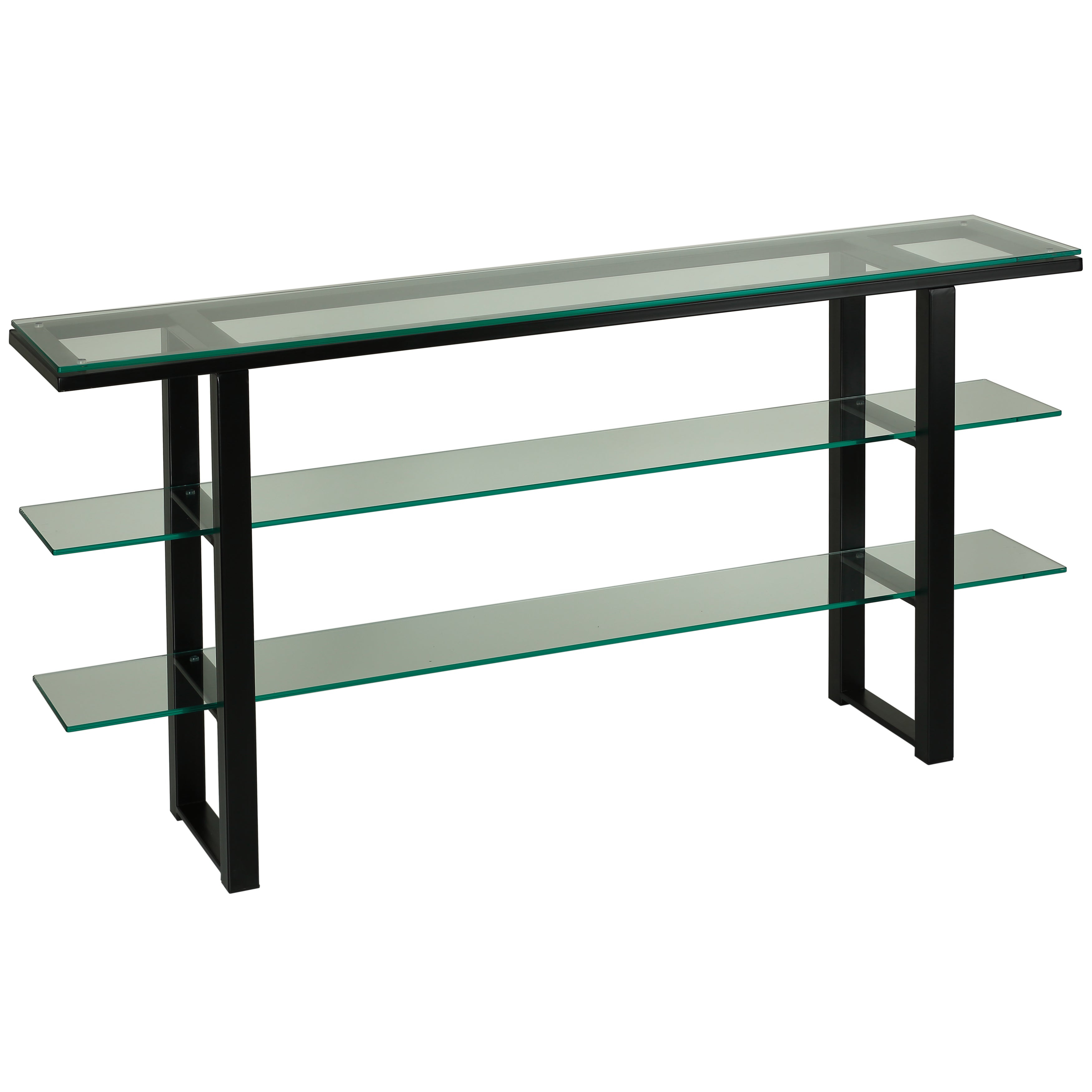 Popular Photo of Contemporary Three Tier Glass Buffets With Black Metal Frame