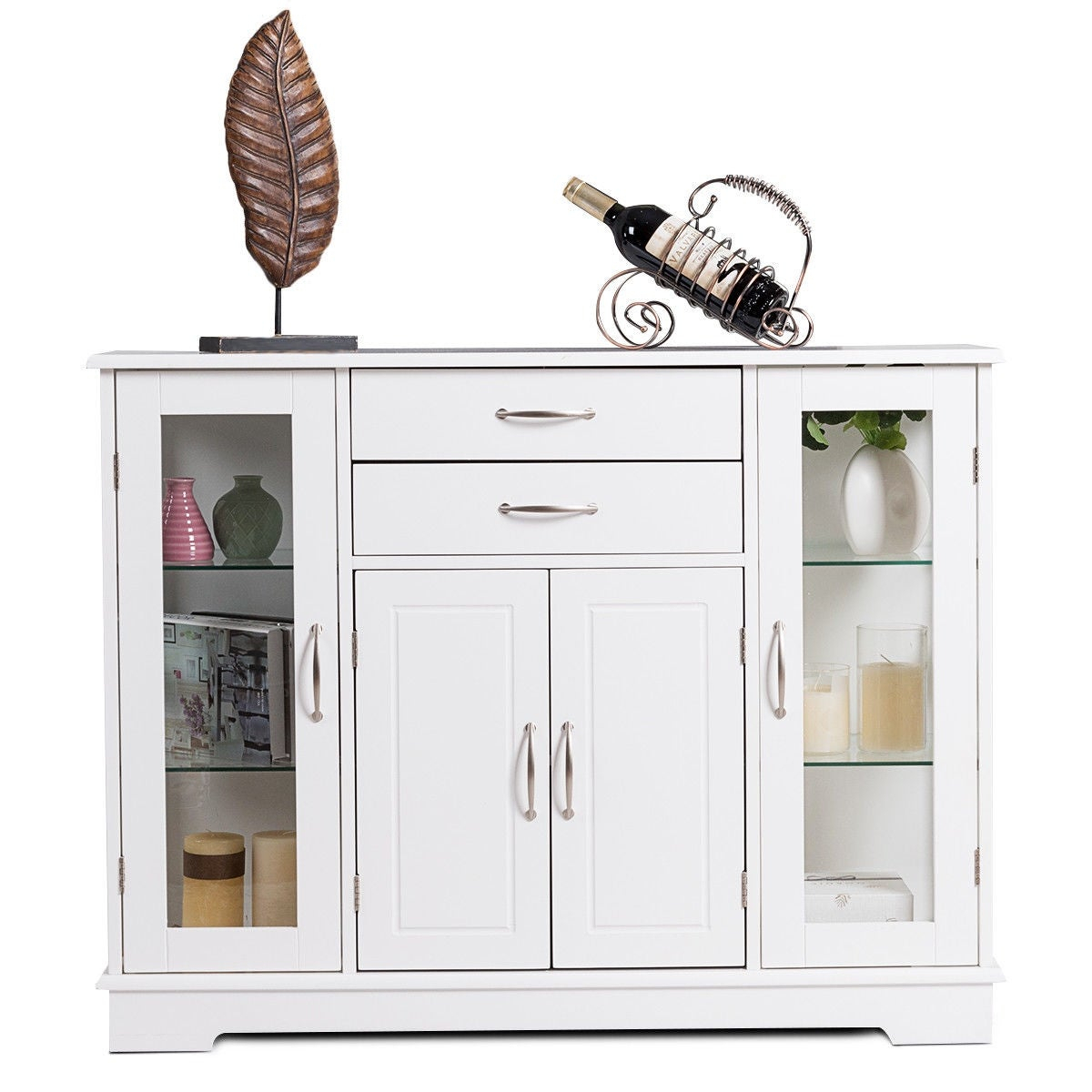 Costway Buffet Storage Cabinet Console Cupboard W/glass Door Drawers Kitchen Dining Room With Contemporary Style Wooden Buffets With Two Side Door Storage Cabinets (View 4 of 30)