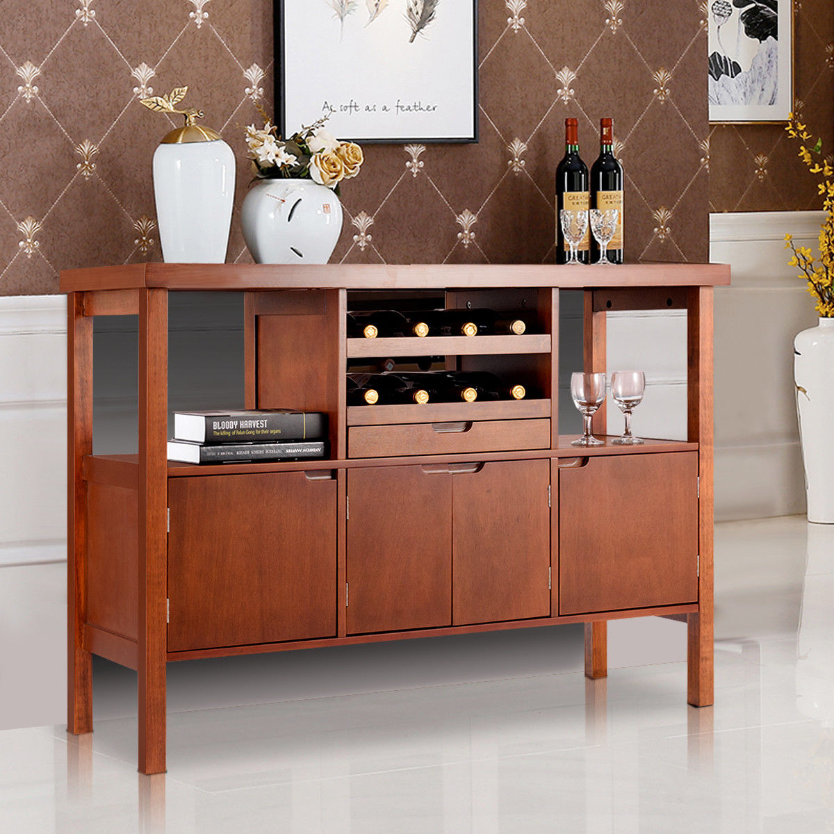 Costway: Costway Brown Wooden Buffet Server Table Storage Cabinet Sideboard Dining W/wine Rack | Rakuten Intended For Wooden Buffets With Two Side Door Storage Cabinets And Stemware Rack (View 9 of 30)