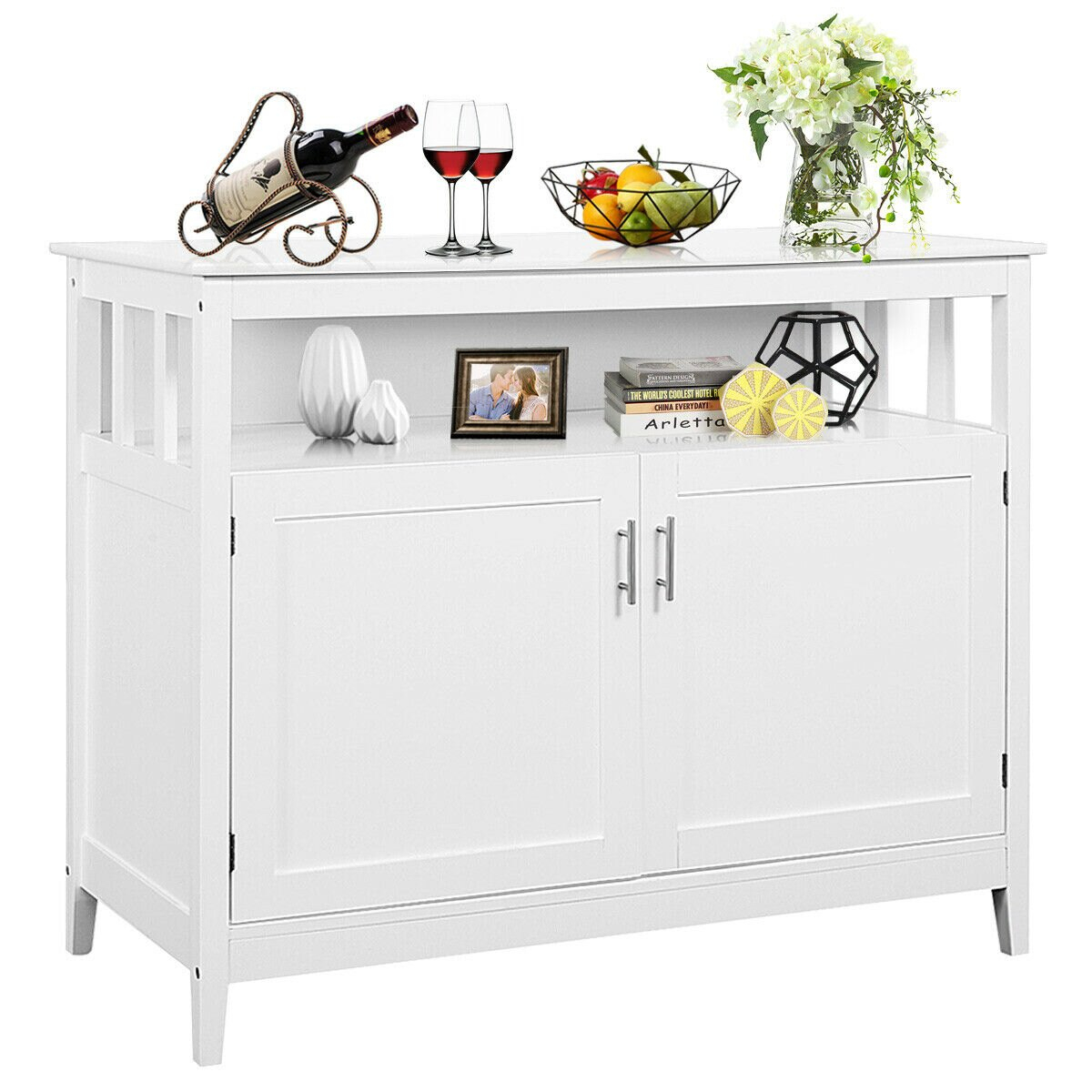 Costway: Costway Modern Kitchen Storage Cabinet Buffet Server Table Sideboard Dining Wood White | Rakuten Throughout Contemporary Style Wooden Buffets With Two Side Door Storage Cabinets (View 9 of 30)