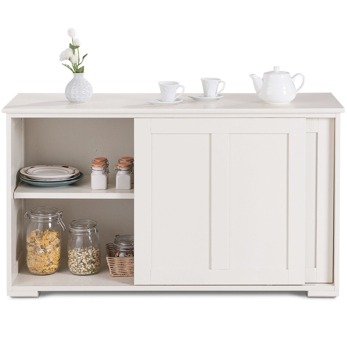 Costway Kitchen Storage Cabinet Sideboard Buffet Cupboard Wood Sliding Door Pantry Pertaining To Contemporary Style Wooden Buffets With Two Side Door Storage Cabinets (View 5 of 30)